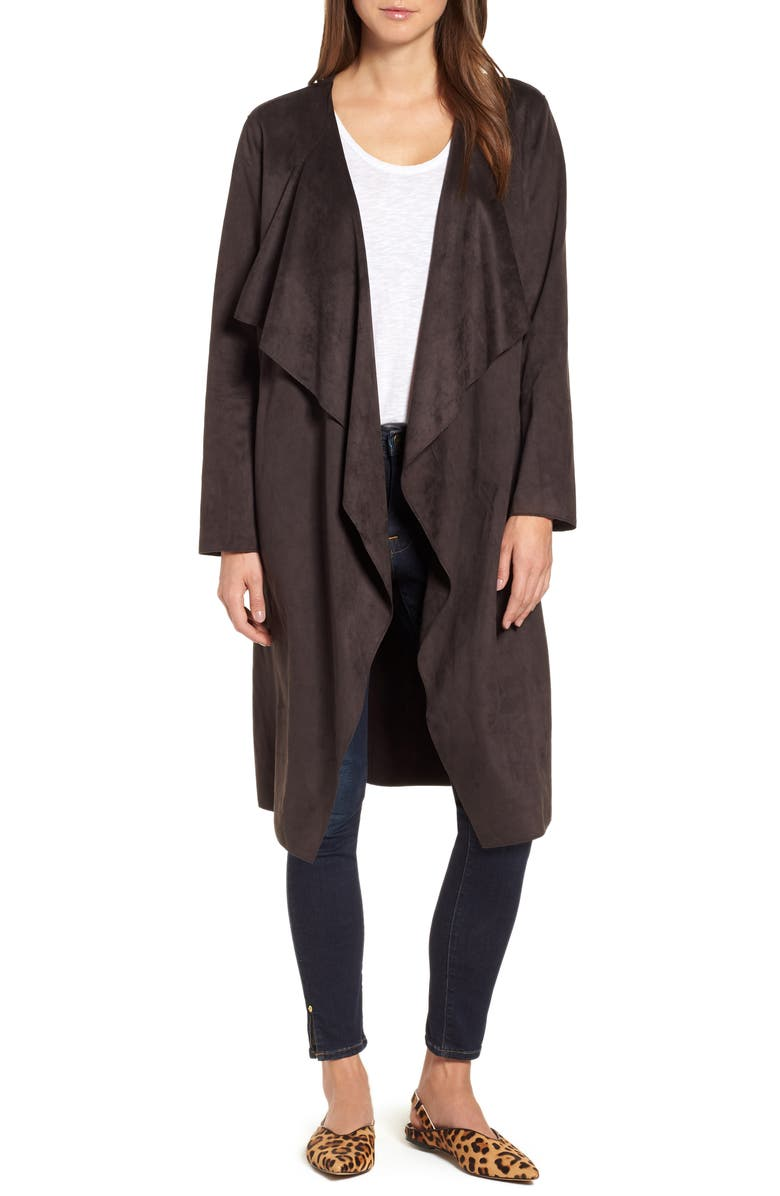 Faux Suede Front Drape Trench Coat