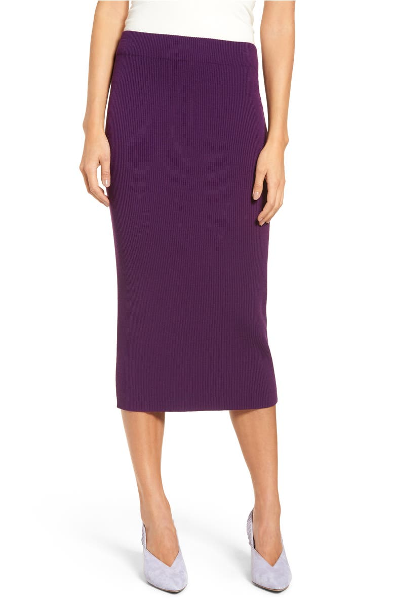 Skinny Ribbed Sweater Midi Skirt,                         Main,                         color, Purple Royal