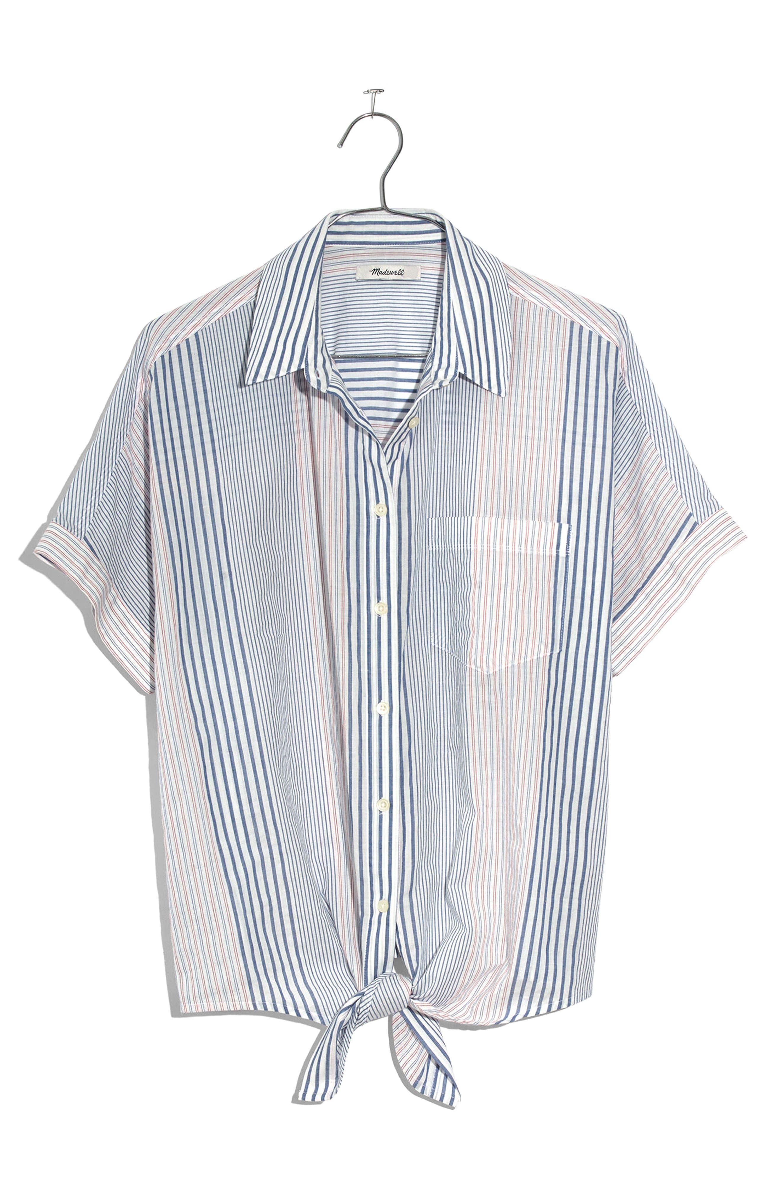 Stripe Tie Front Short Sleeve Shirt,                             Alternate thumbnail 4, color,                             Tulum Blue