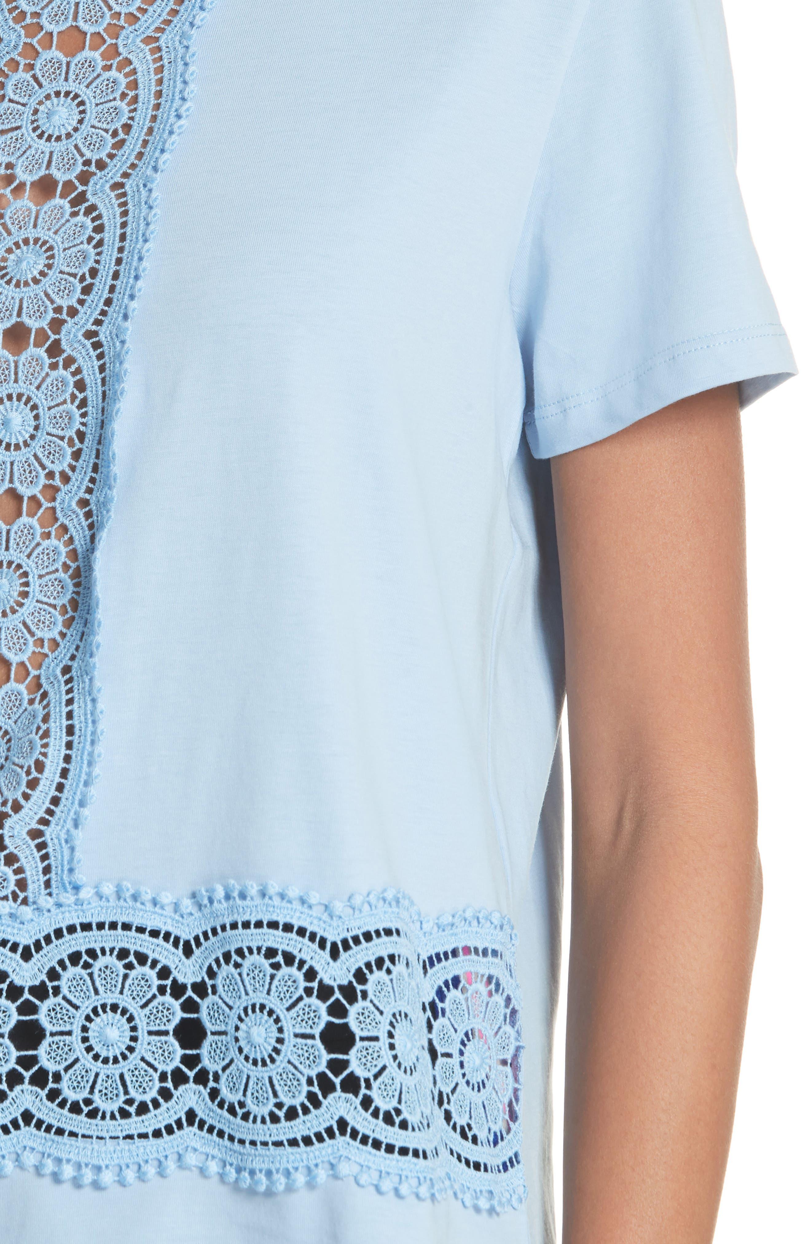 Lace Inset Cotton Top,                             Alternate thumbnail 4, color,                             Bleu Ciel