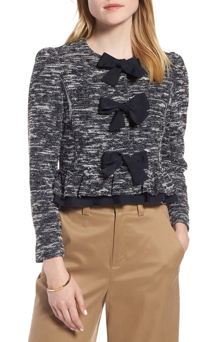 Bow Front Crop Tweed Jacket