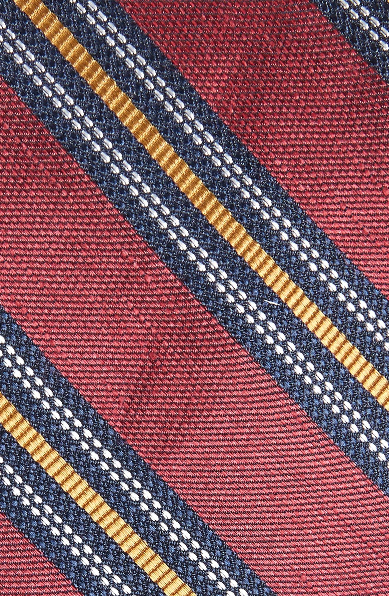 Rangel Stripe Silk & Linen Tie,                             Alternate thumbnail 2, color,                             Burgundy