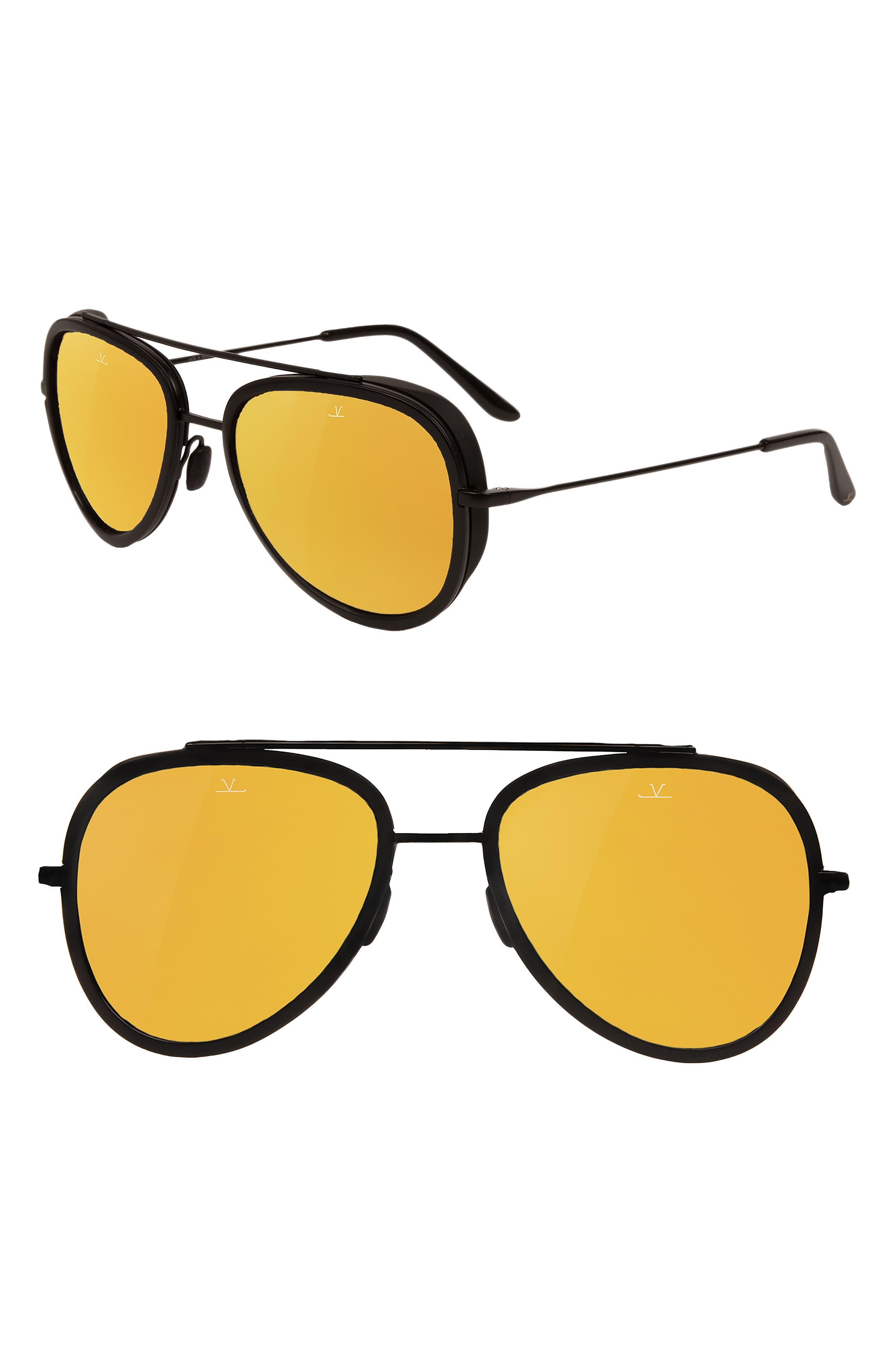 Pilot Edge 54mm Aviator Sunglasses,                         Main,                         color, Matt Black / Black