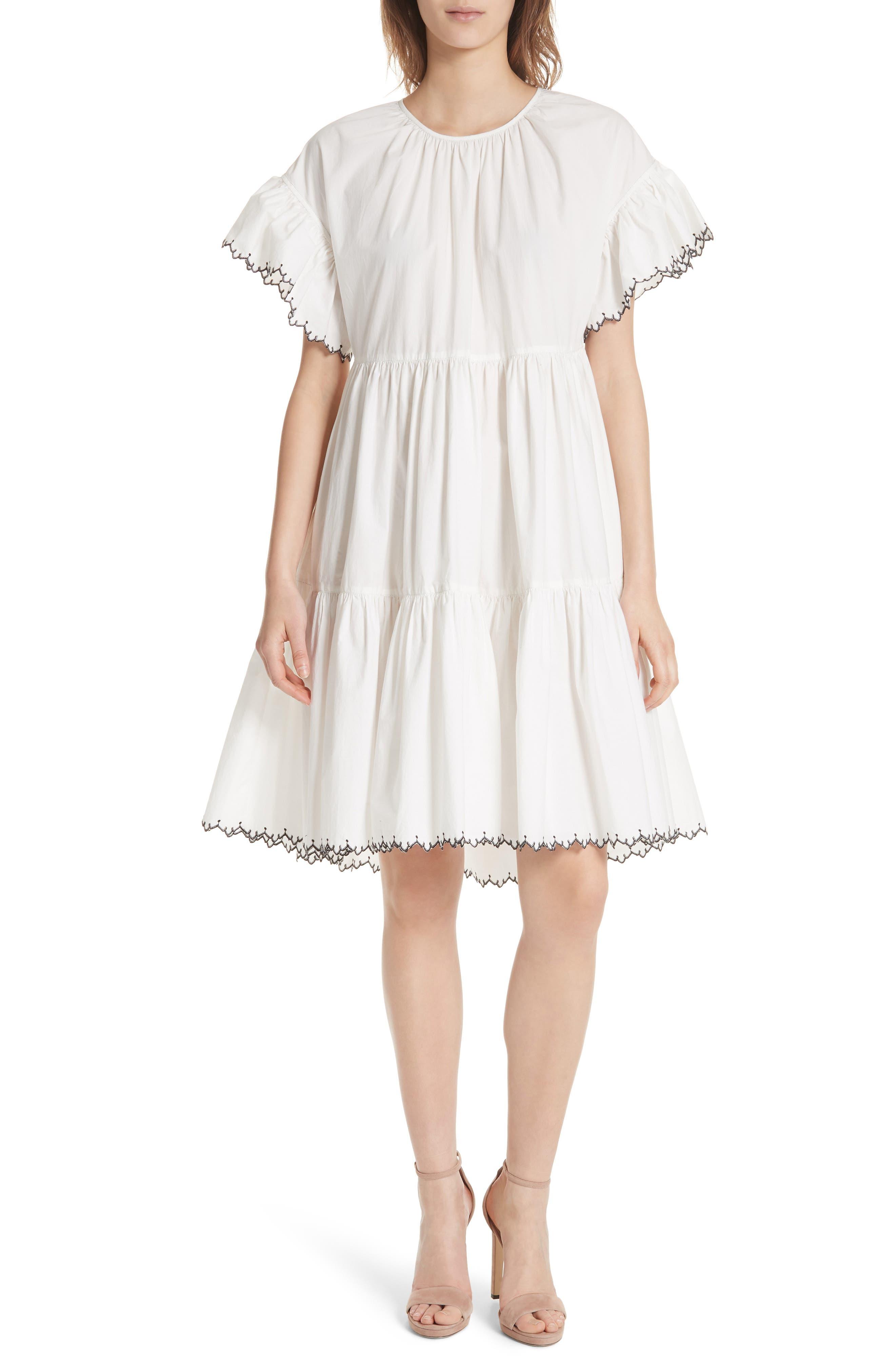 Rosemarie Cotton Poplin Dress,                             Main thumbnail 1, color,                             Blanc