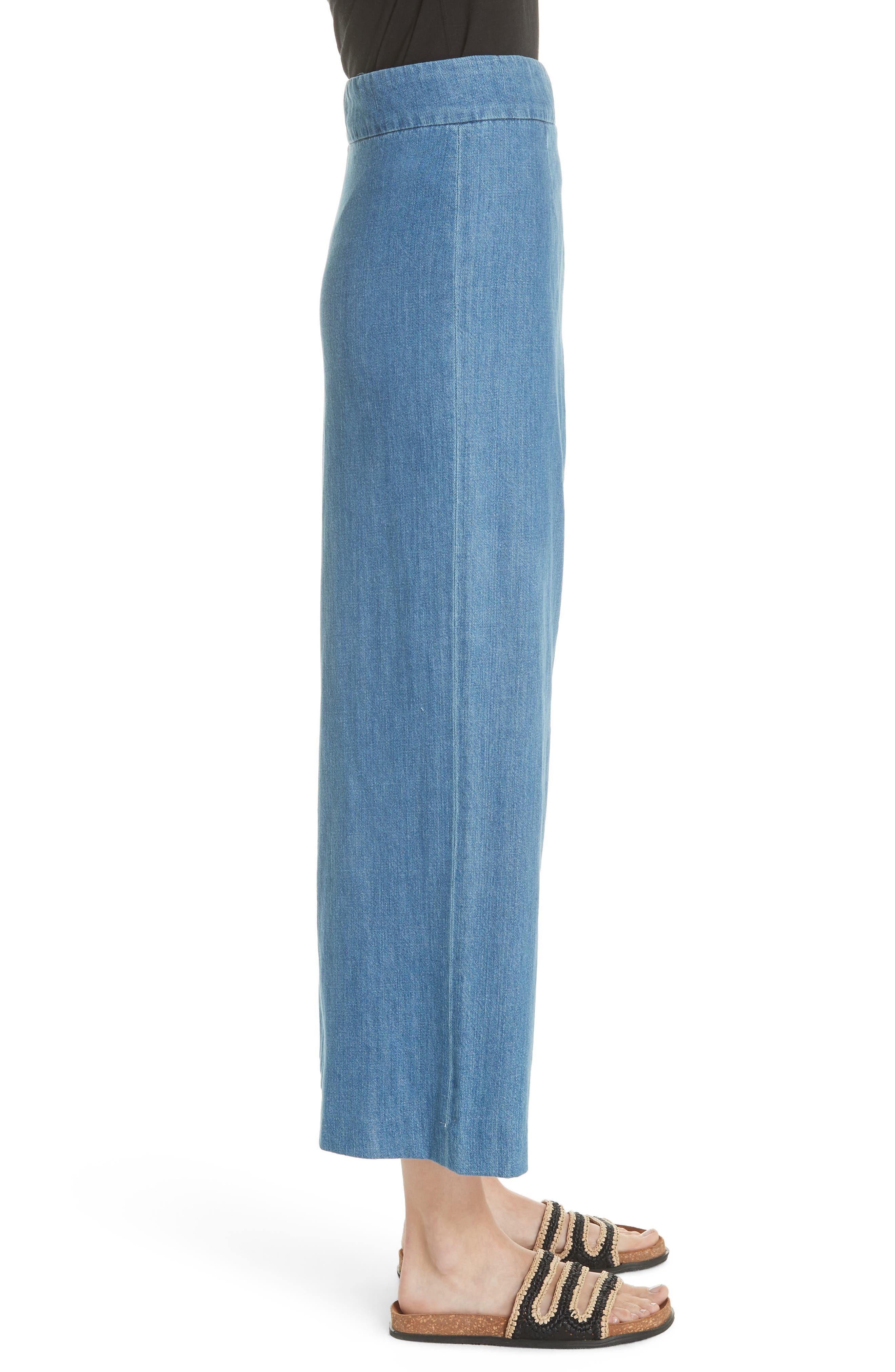 High Waist Crop Wide Leg Jeans,                             Alternate thumbnail 3, color,                             Blue