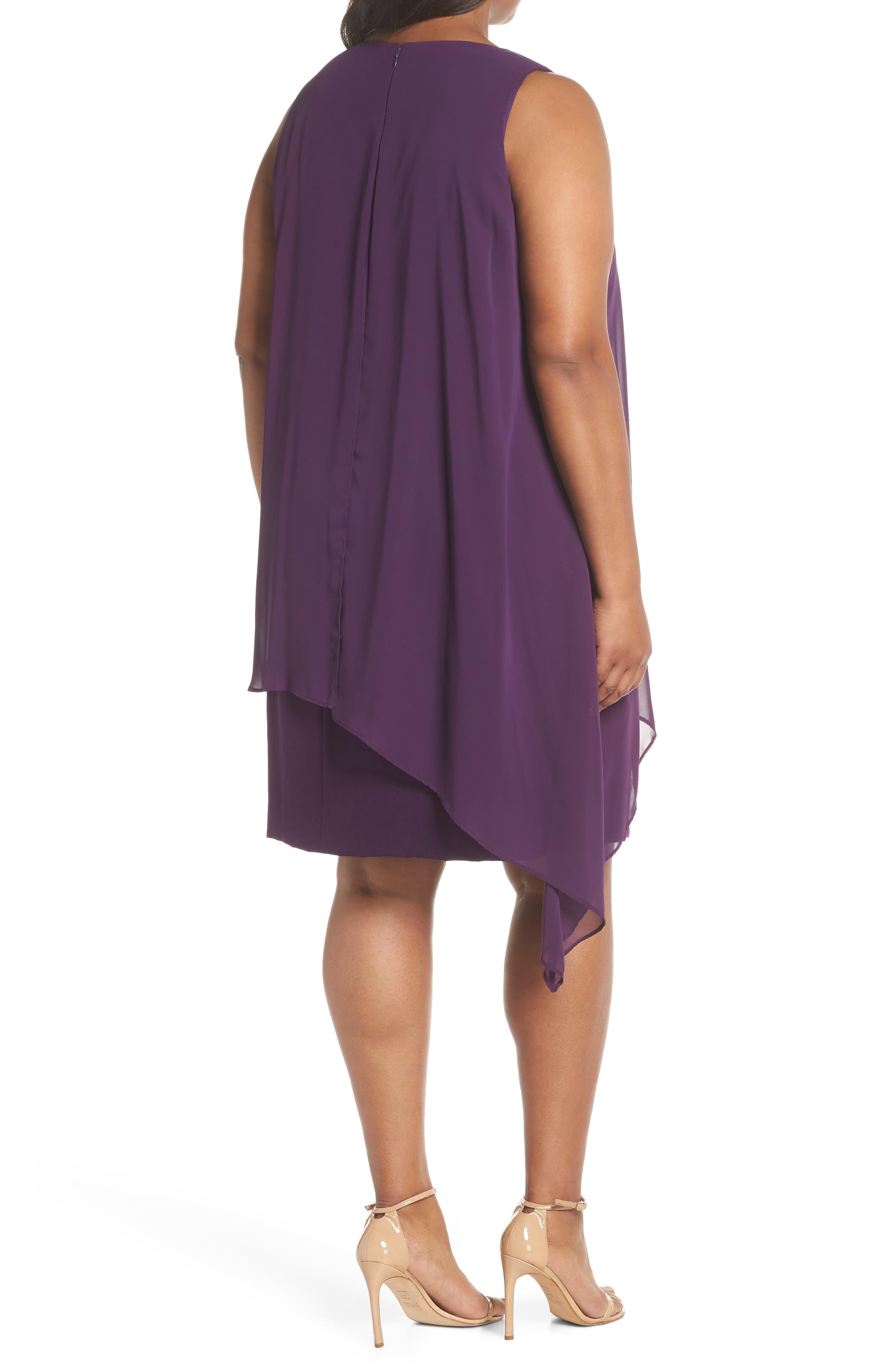 Chiffon Overlay Sheath Dress,                             Alternate thumbnail 2, color,                             Plum