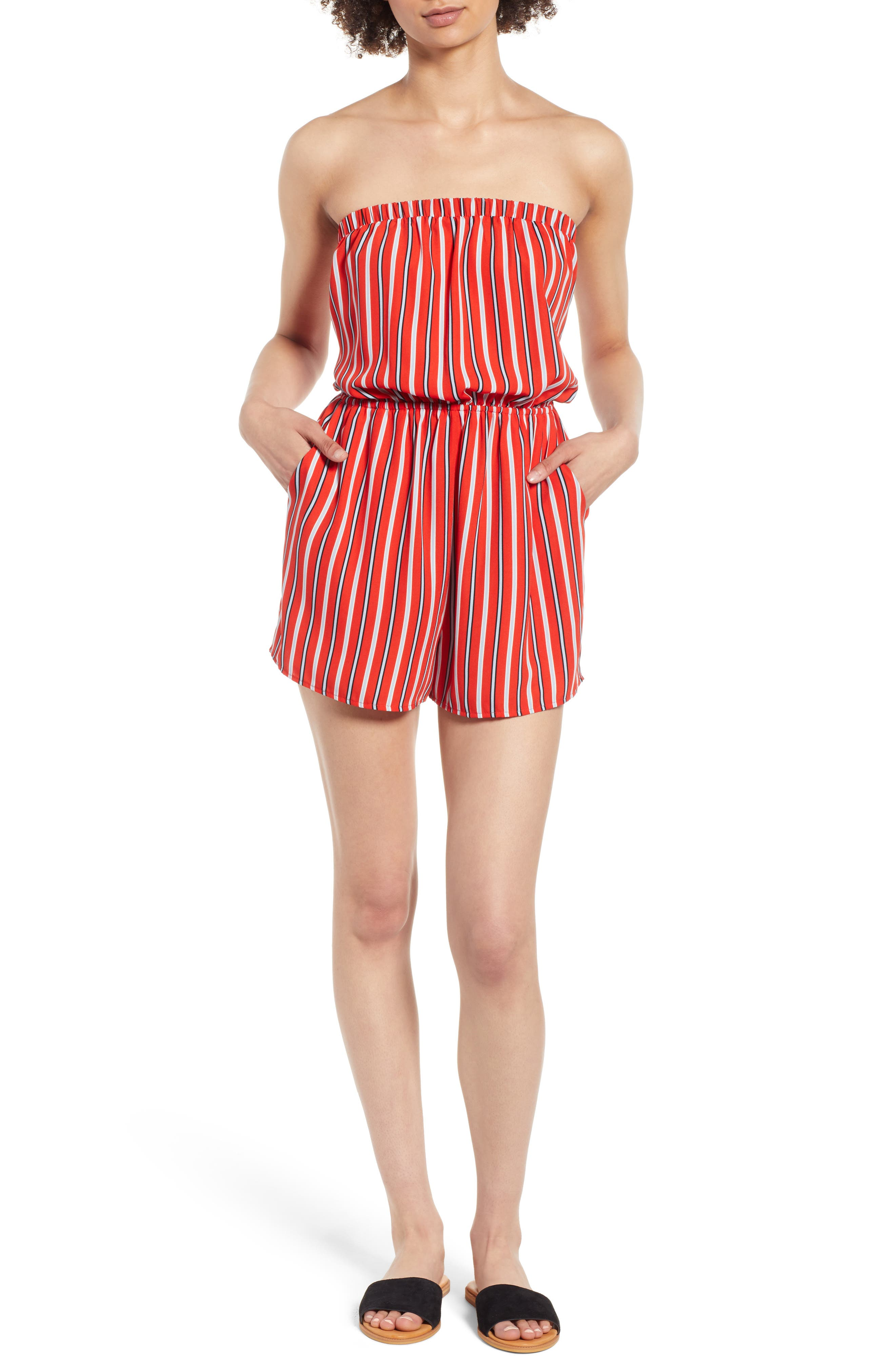 Strapless Tie Back Romper,                             Main thumbnail 1, color,                             Candy Red