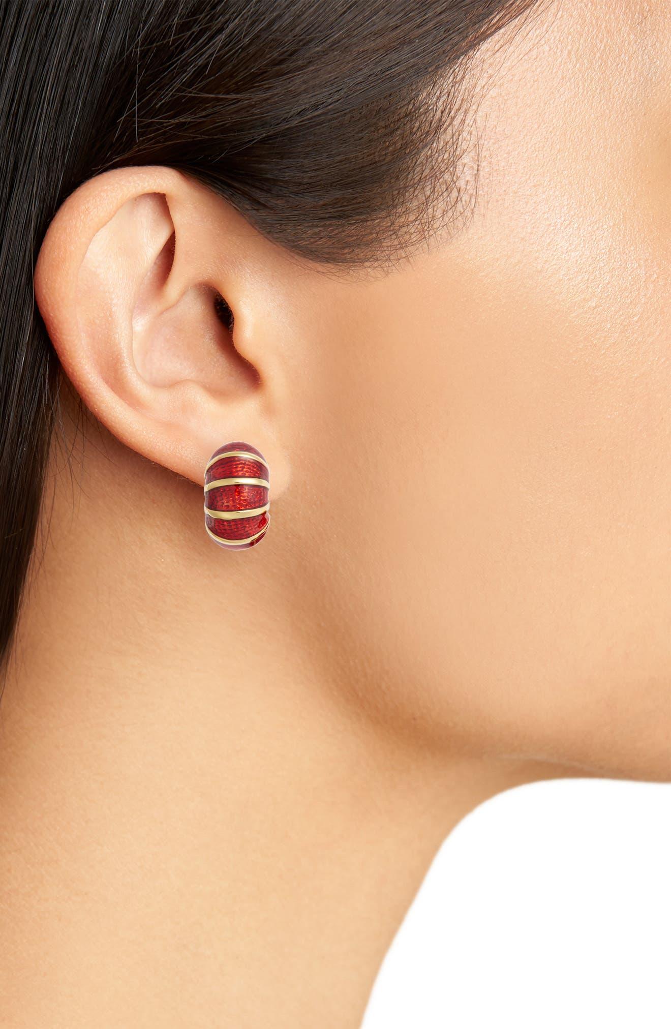 Goldtone & Red Reversible Earrings,                             Alternate thumbnail 2, color,                             Red