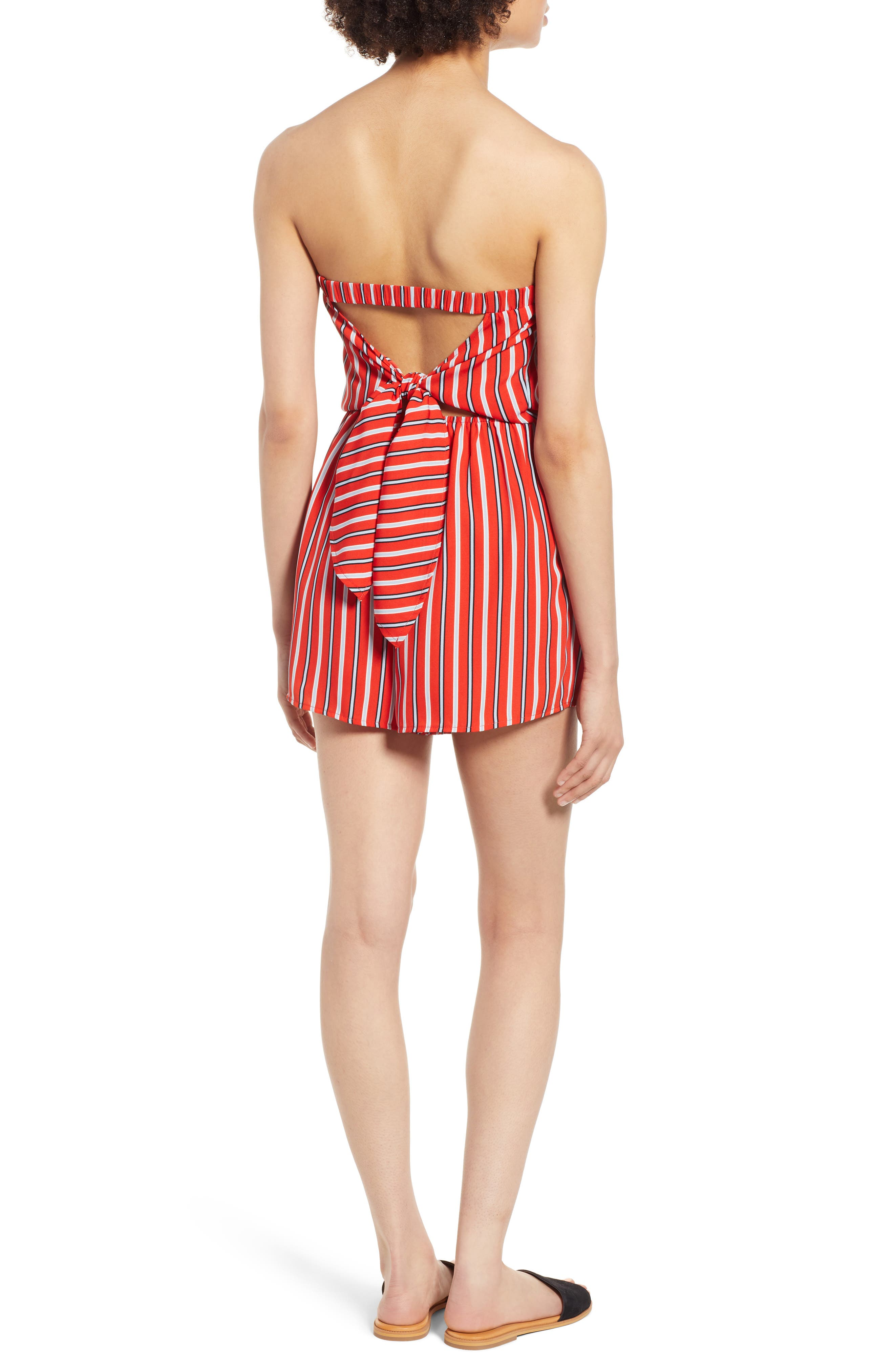 Strapless Tie Back Romper,                             Alternate thumbnail 2, color,                             Candy Red