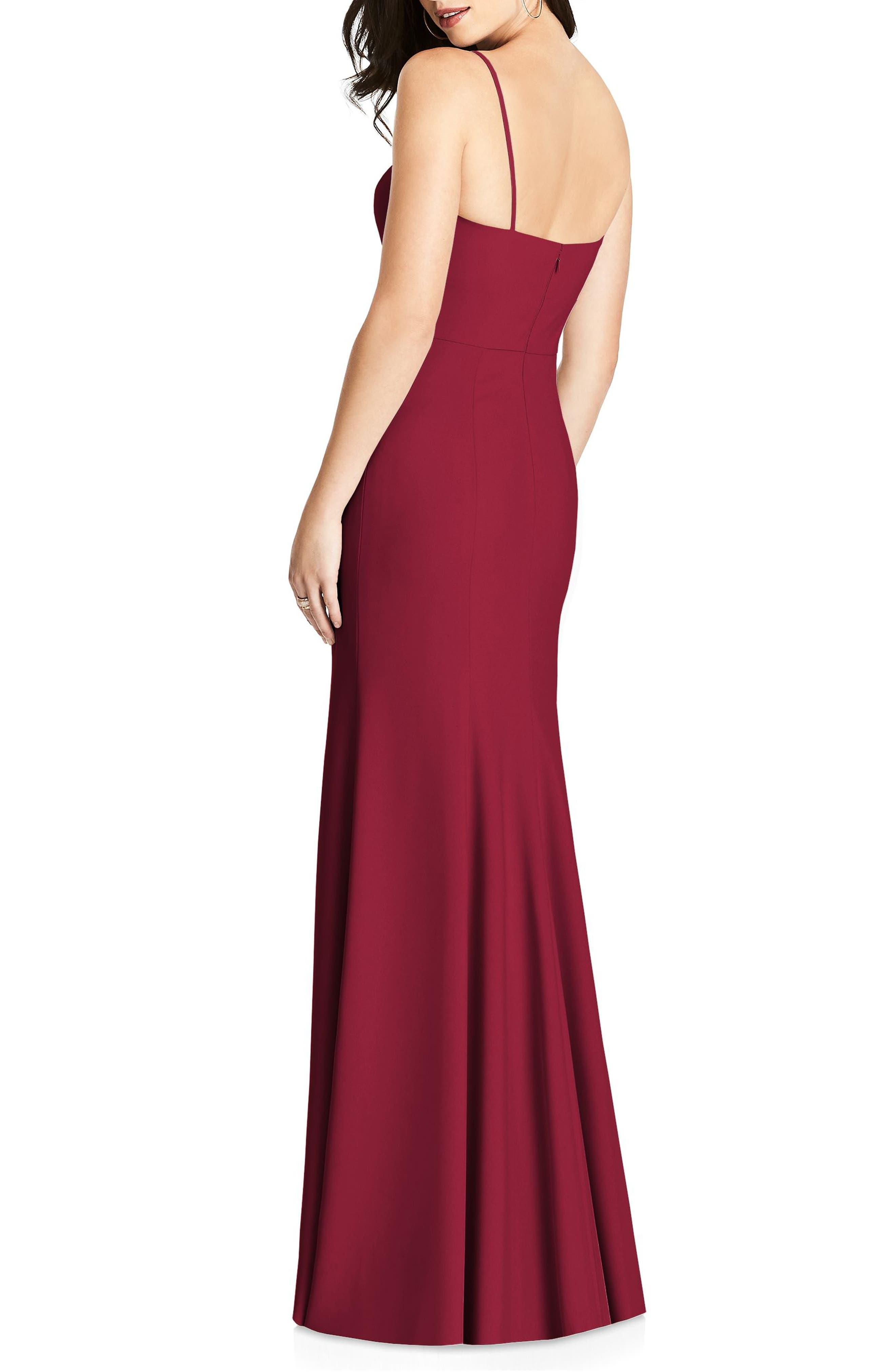 Crisscross Seam Crepe Gown,                             Alternate thumbnail 2, color,                             Burgundy