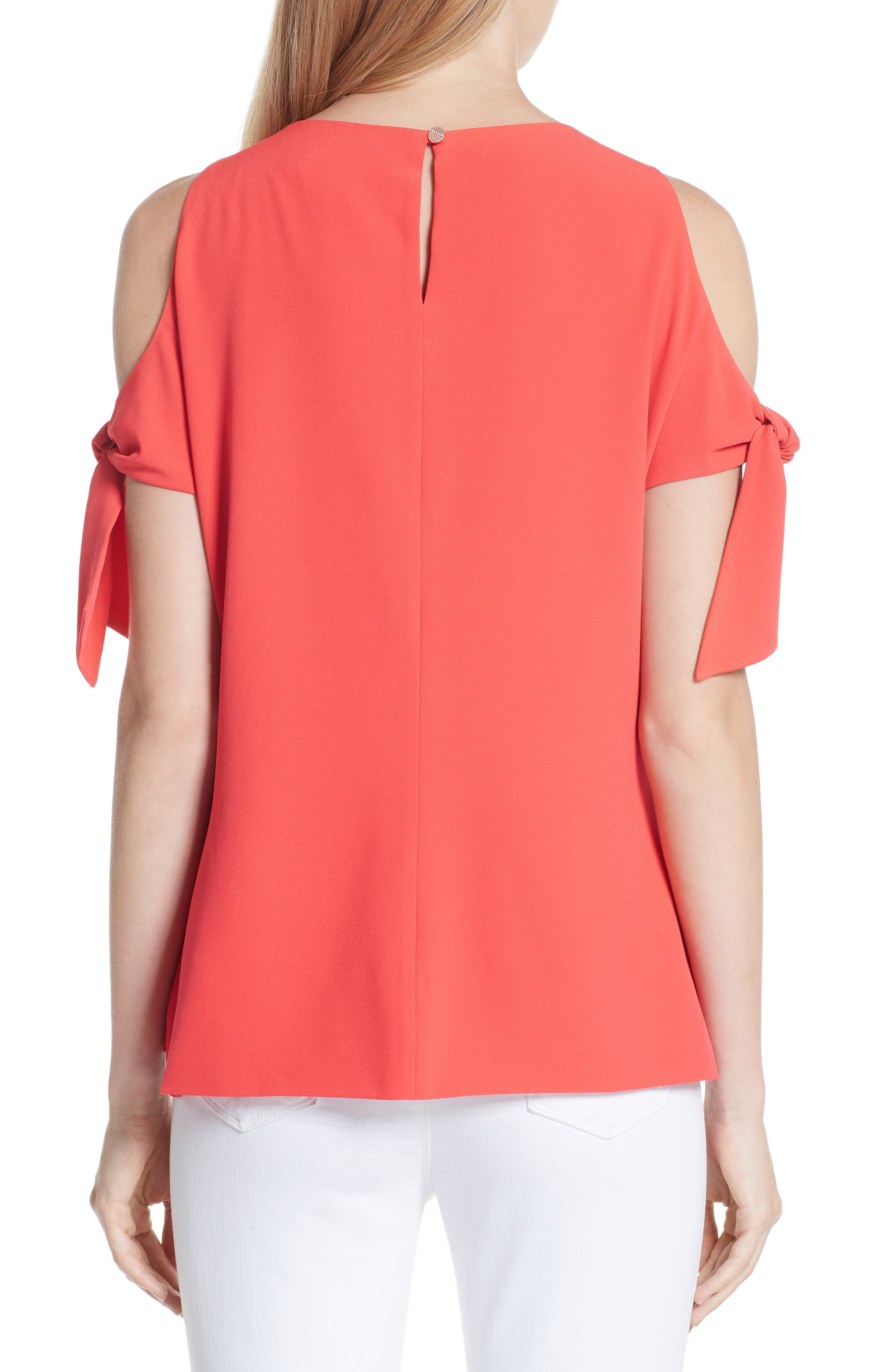 Yaele Cold Shoulder Top,                             Alternate thumbnail 2, color,                             Bright Red