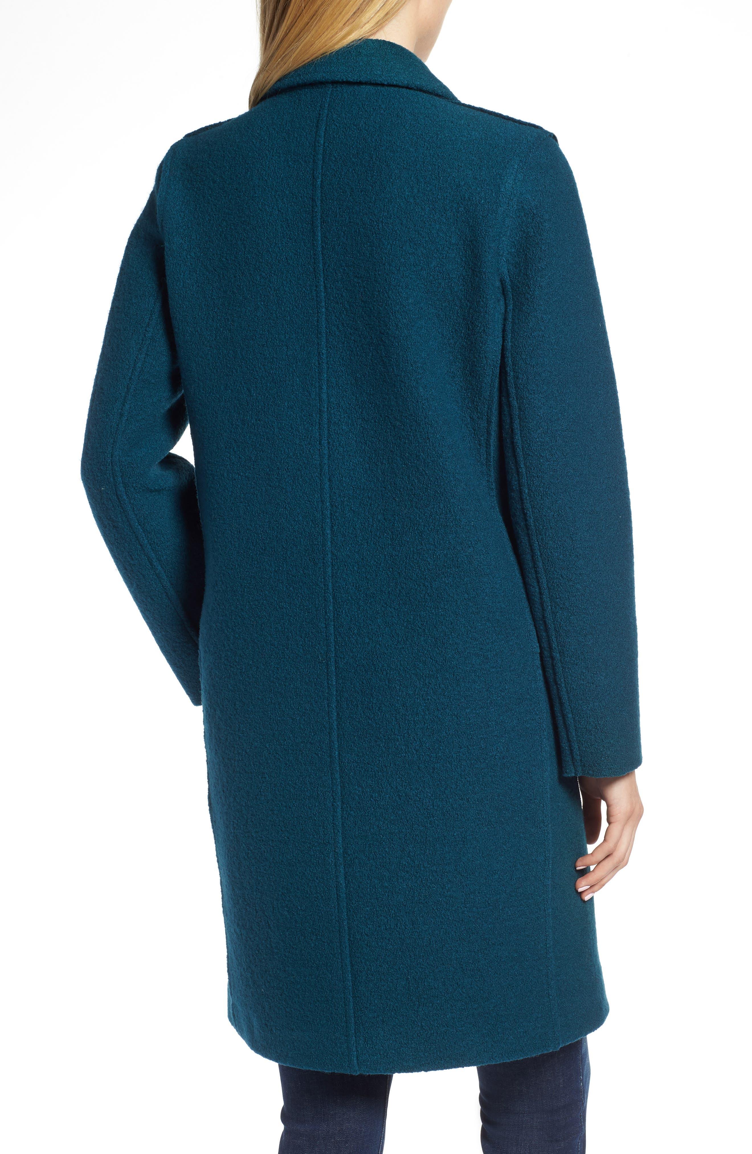 Olga Boiled Wool Topcoat,                             Alternate thumbnail 2, color,                             Winter Pine