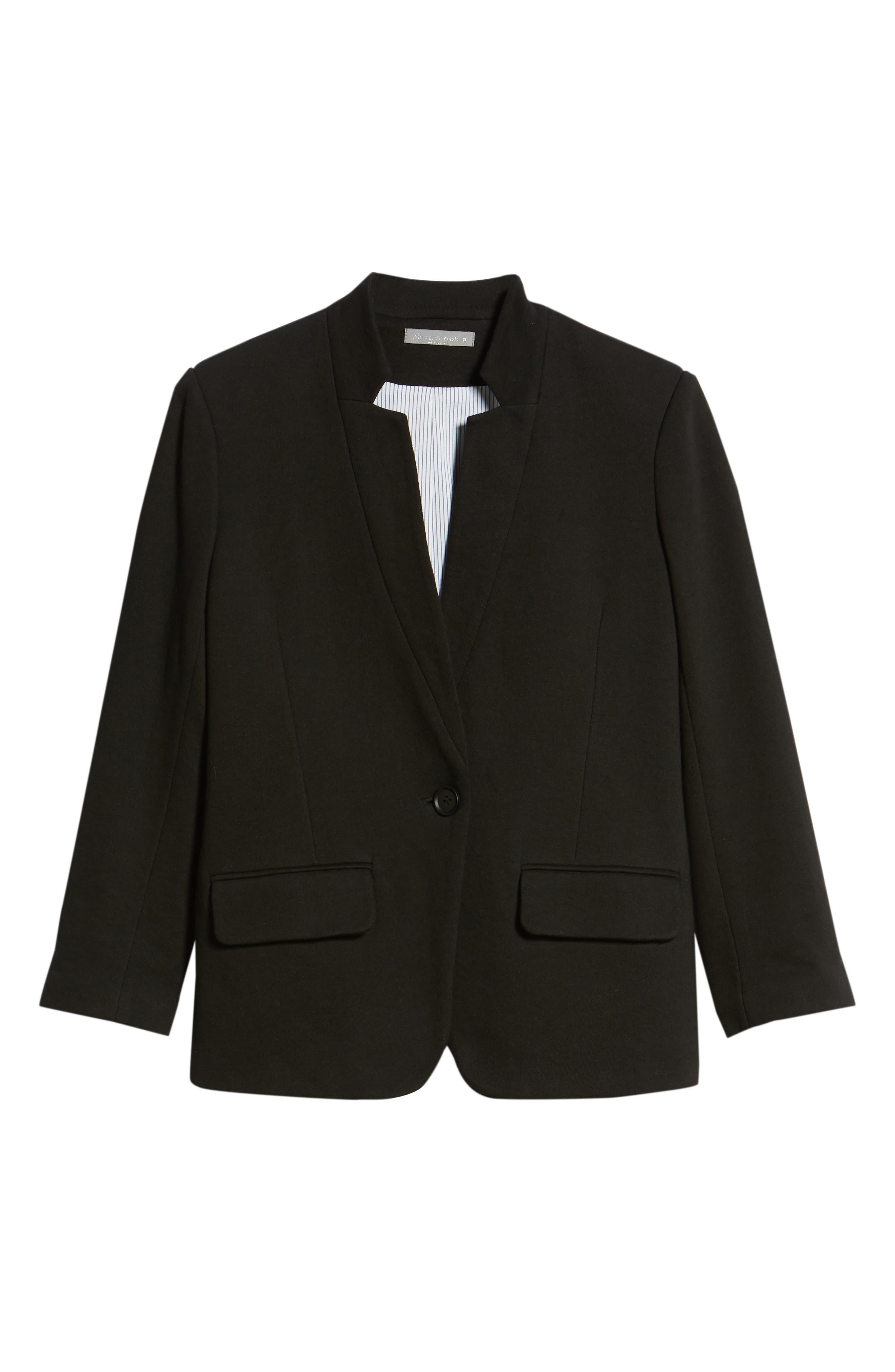 Cotton Blend Knit Blazer,                             Alternate thumbnail 6, color,                             Black