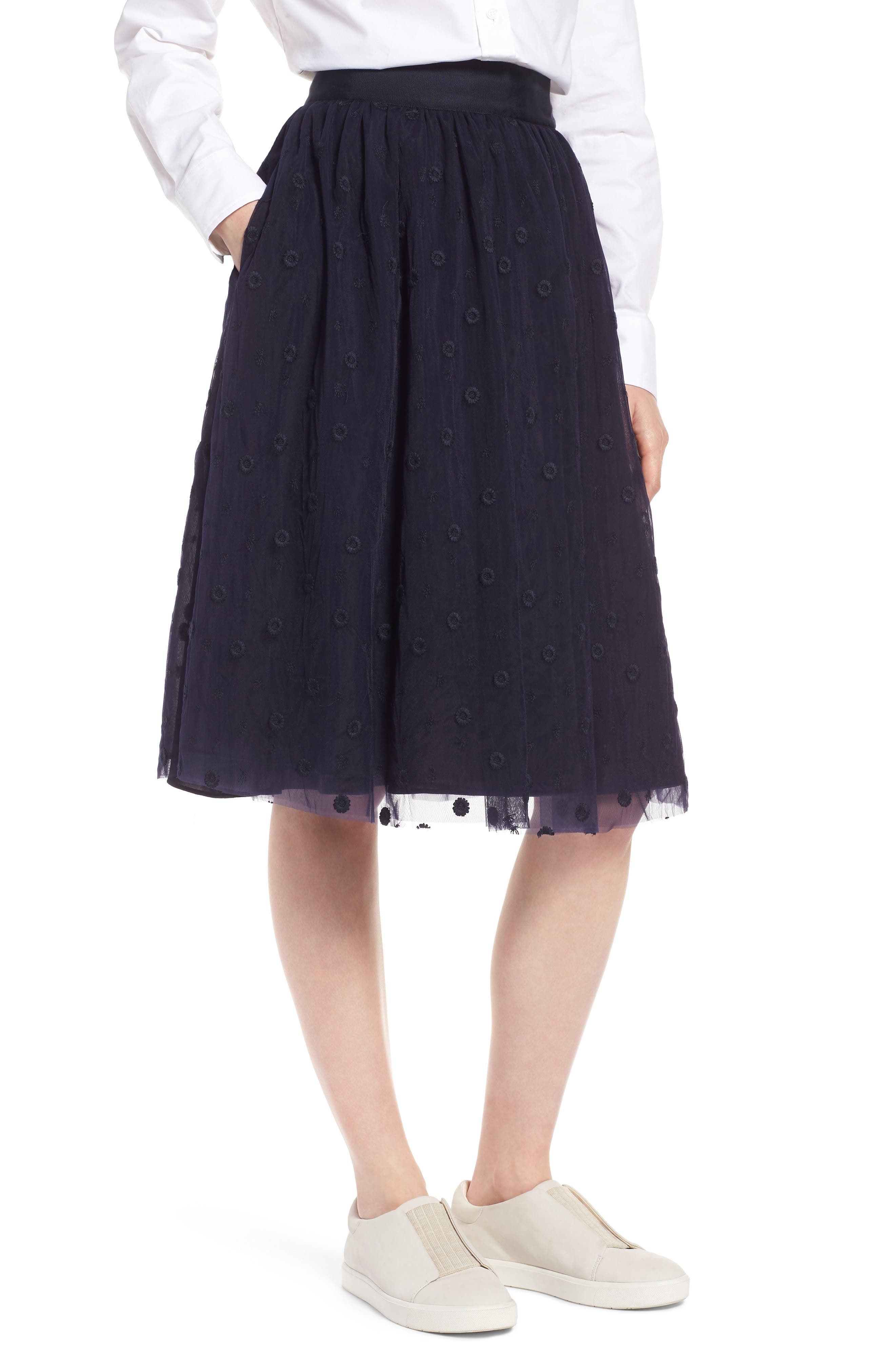 Embroidered Tulle Skirt,                         Main,                         color, Navy Night