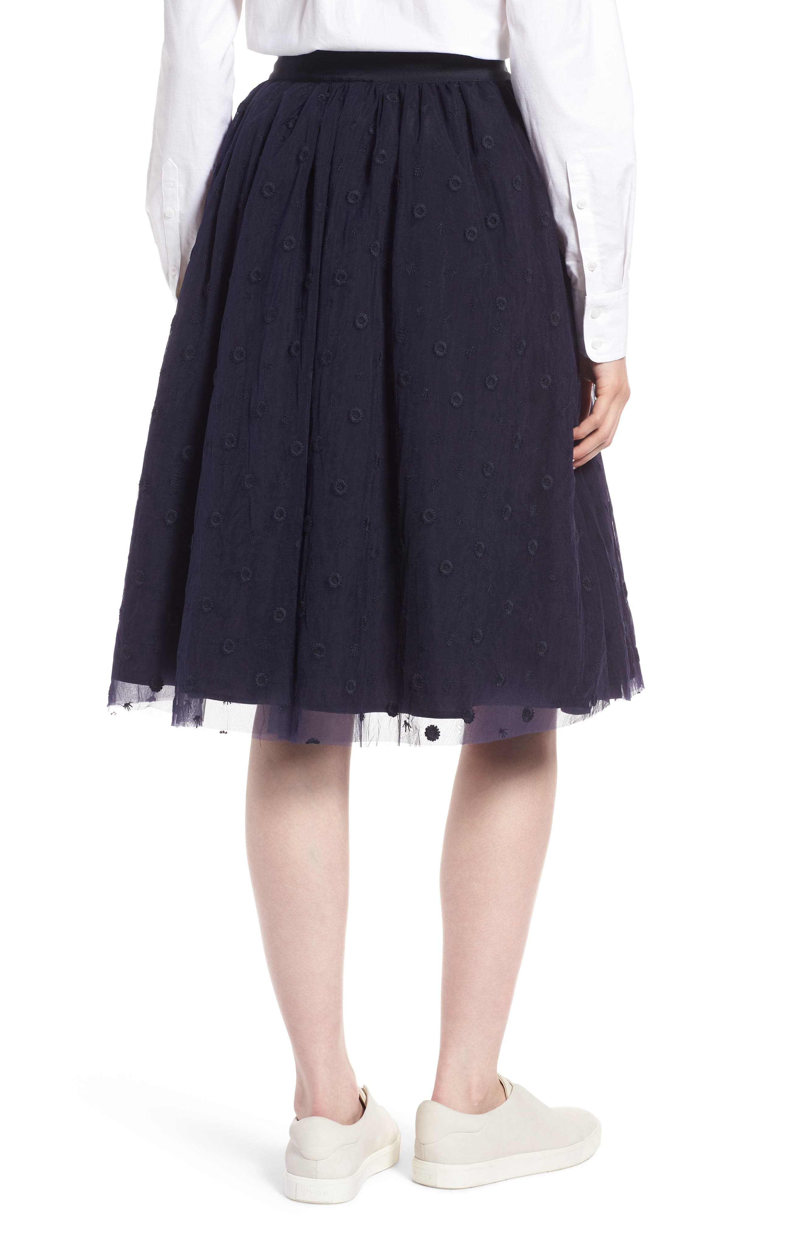 Embroidered Tulle Skirt,                             Alternate thumbnail 2, color,                             Navy Night