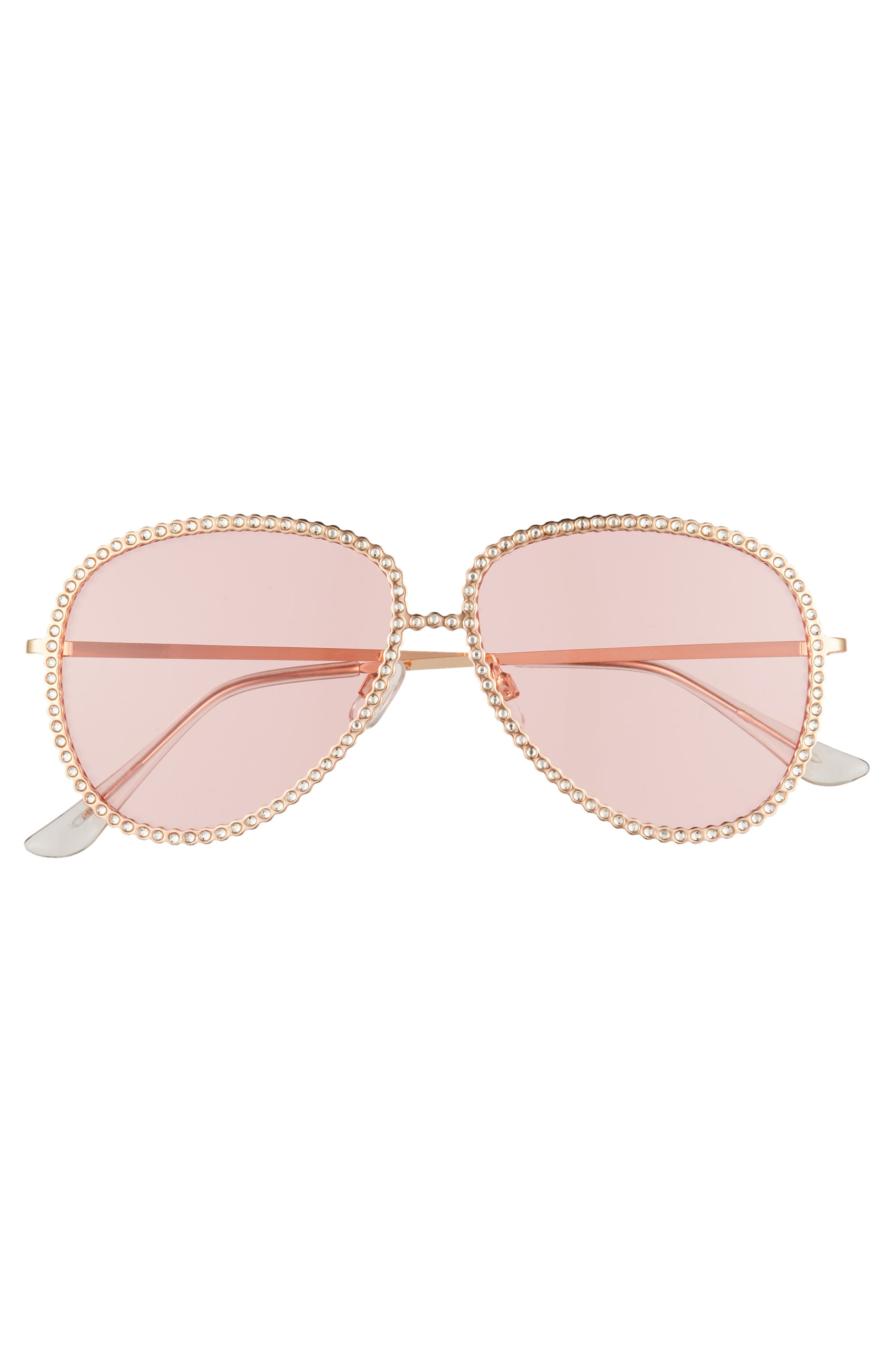 58mm Crystal Aviator Sunglasses,                             Alternate thumbnail 3, color,                             Rose Gold/ Pink