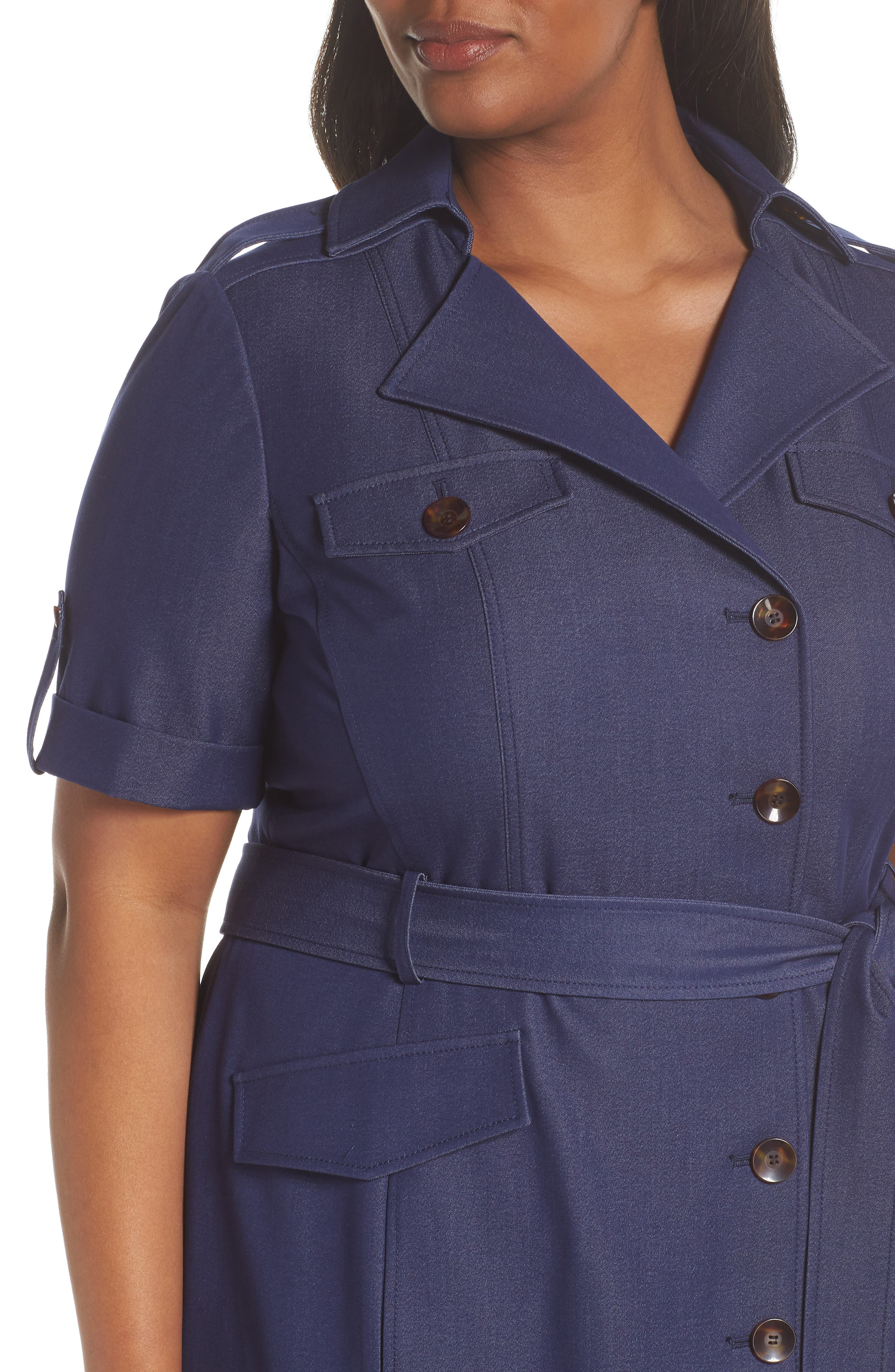 Denim Shirtdress,                             Alternate thumbnail 4, color,                             Indigo