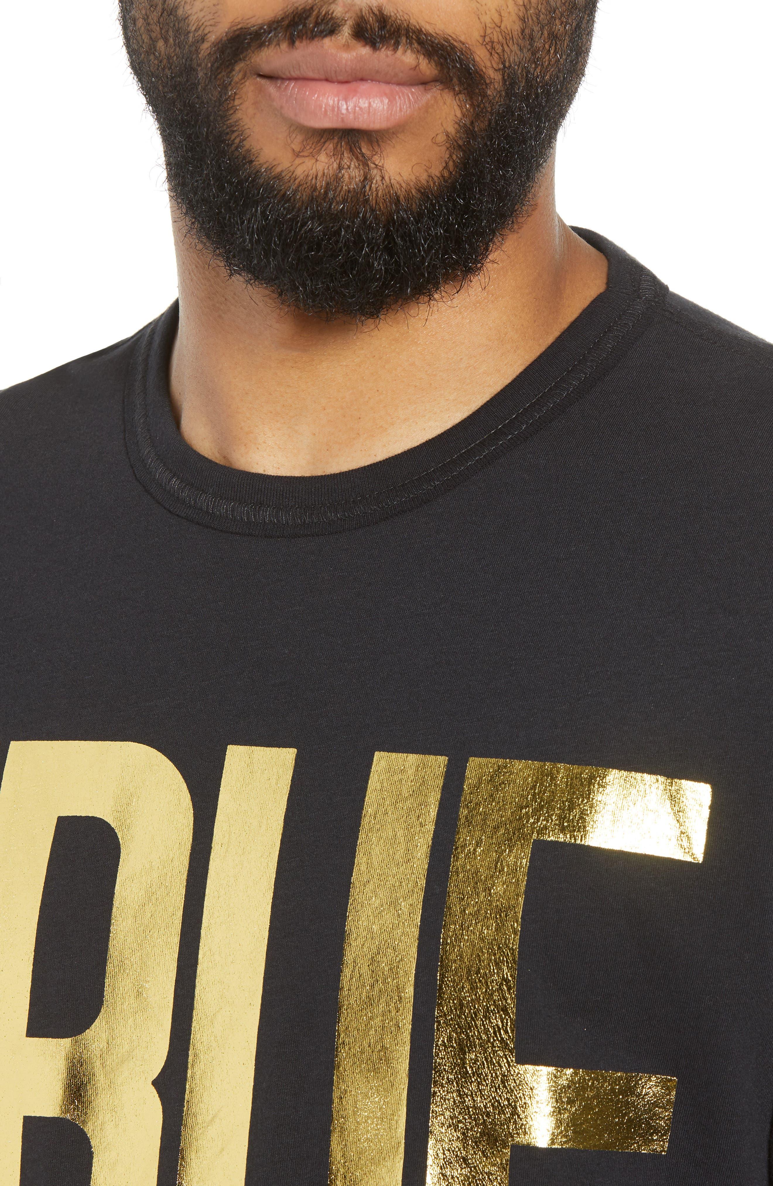Gold Foil Logo T-Shirt,                             Alternate thumbnail 4, color,                             True Black