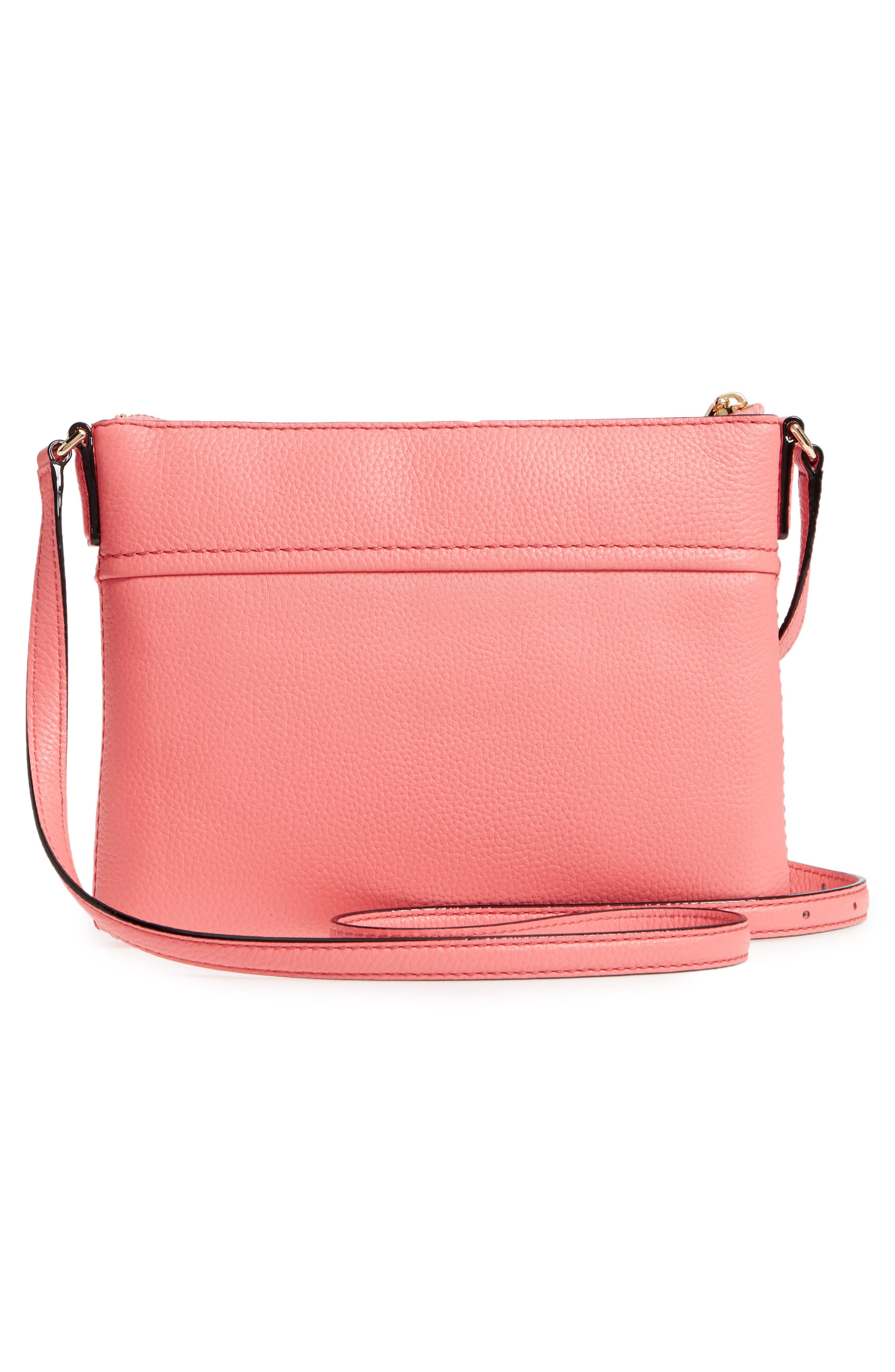 jackson street - gabriele leather crossbody bag,                             Alternate thumbnail 3, color,                             Coral Pebble