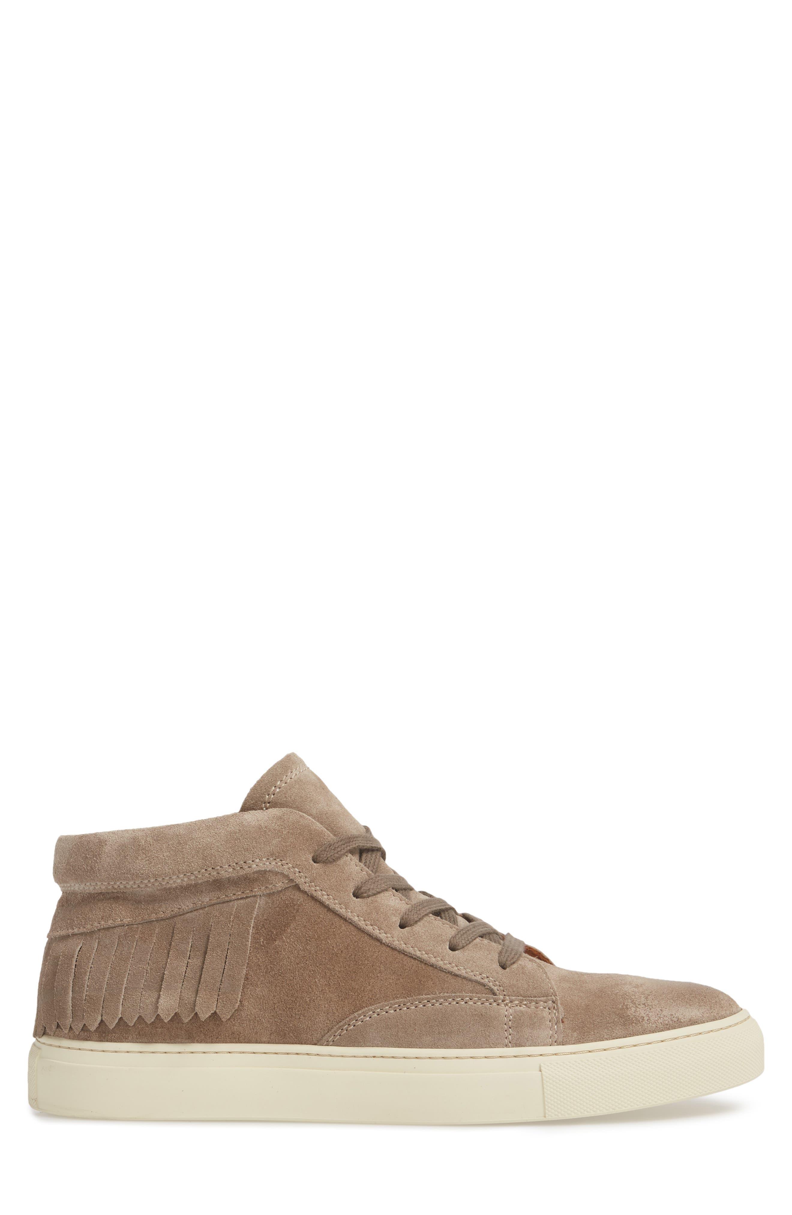John Varvatos Reed Fringe Sneaker,                             Alternate thumbnail 3, color,                             Rye Suede