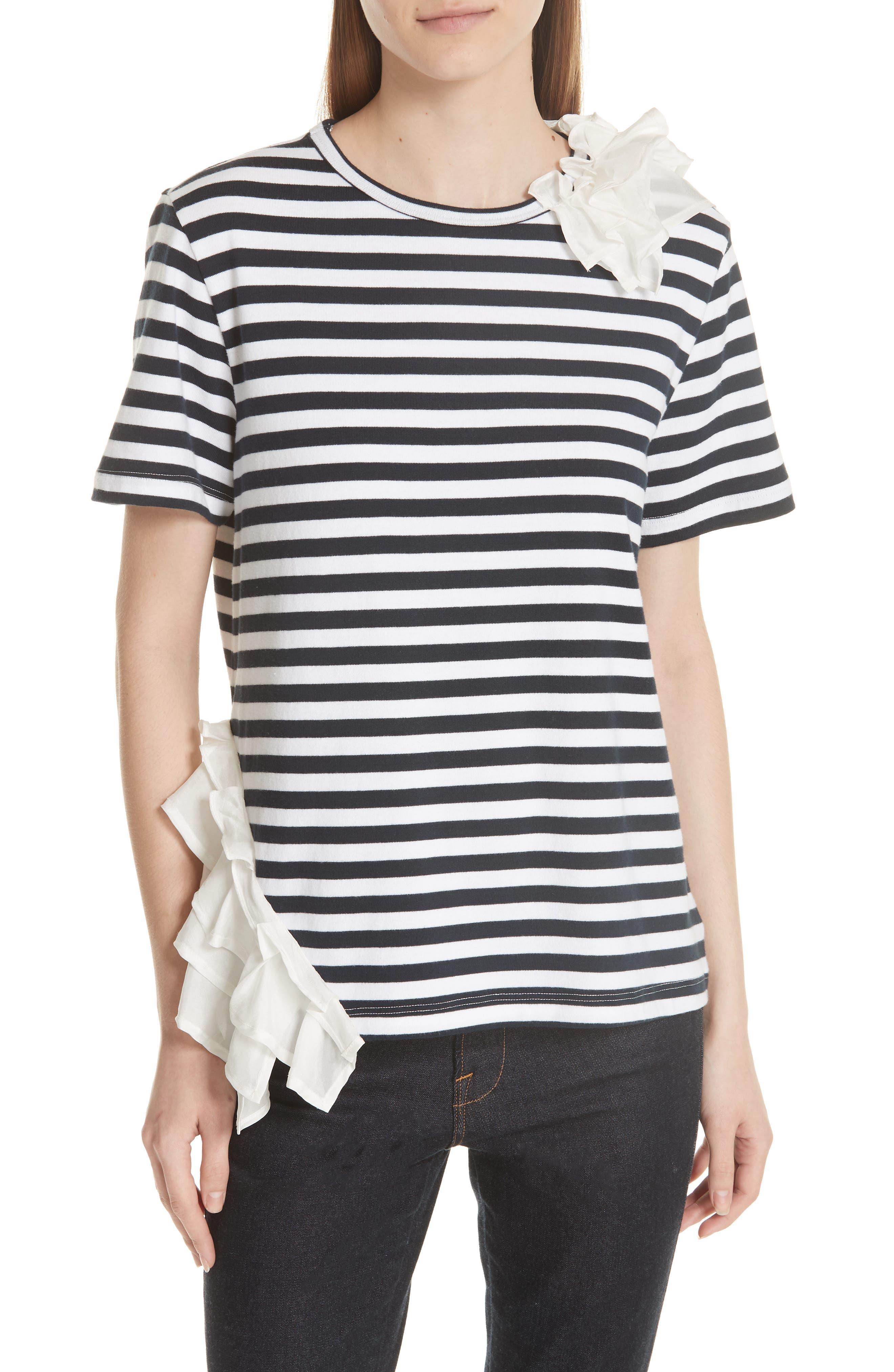Ruffle Trim Stripe Top,                         Main,                         color, Navy