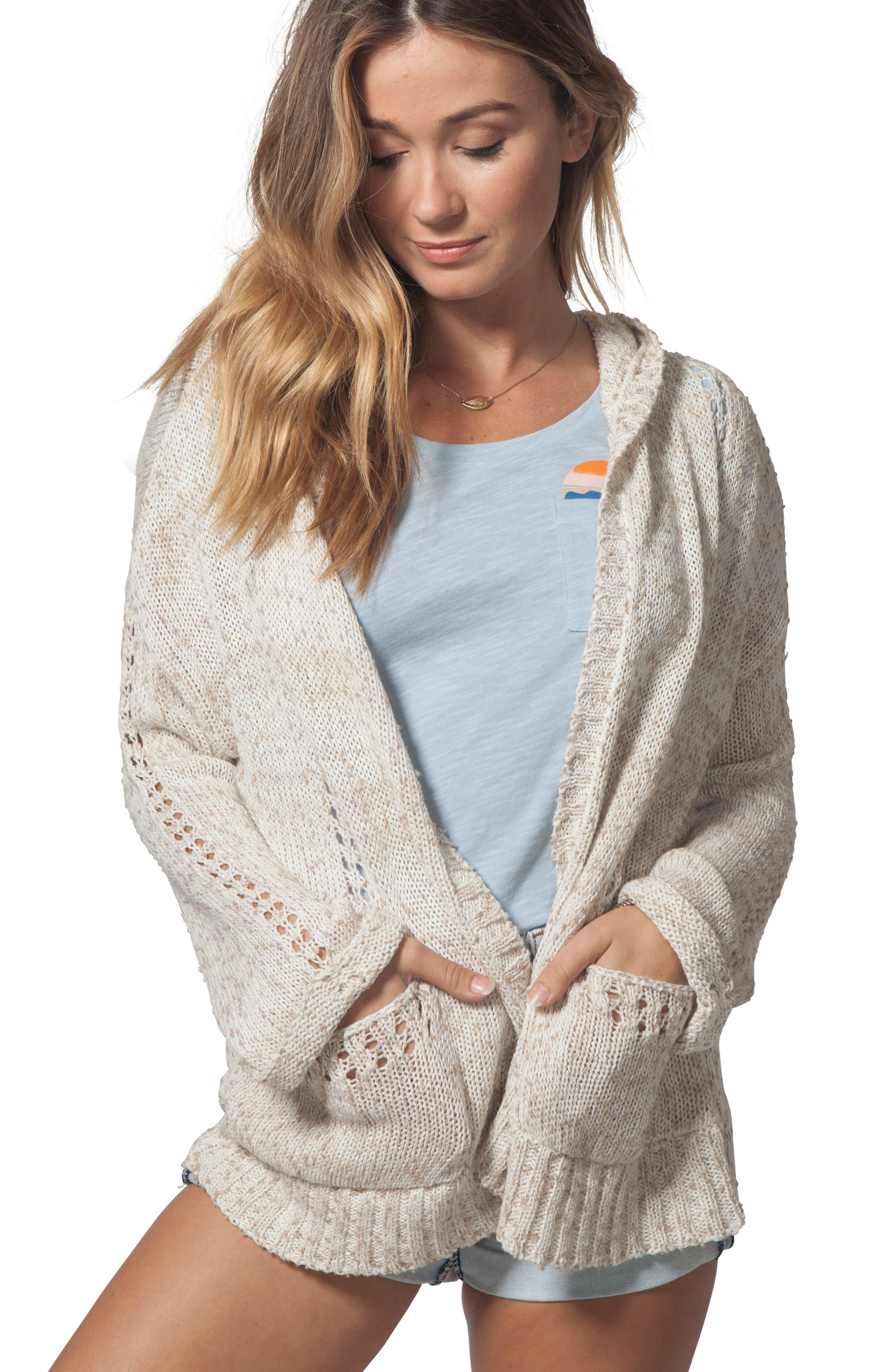 Swing By Hooded Cardigan,                             Alternate thumbnail 4, color,                             Natural