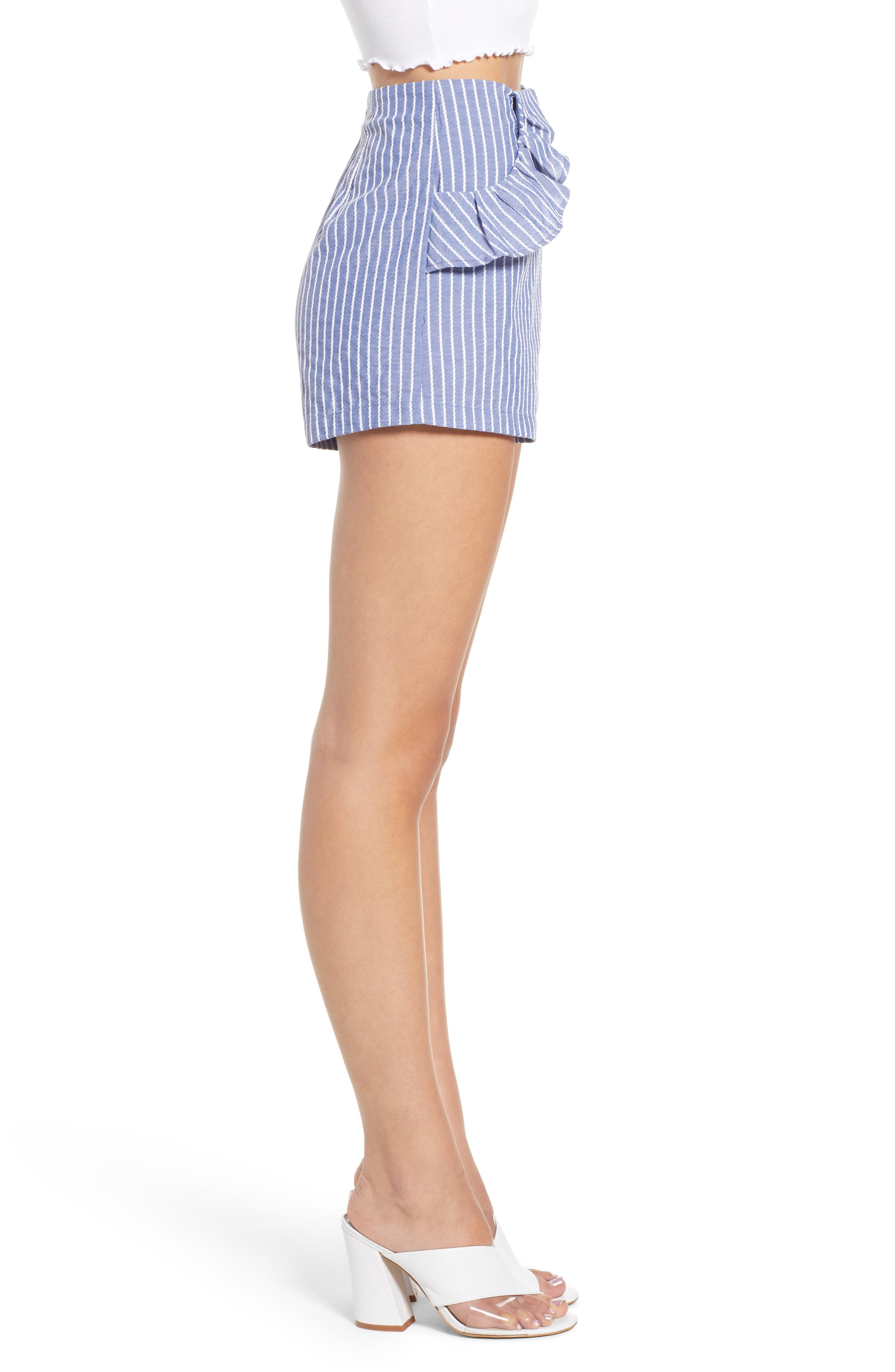 Parcel Ruffle Detail Shorts,                             Alternate thumbnail 5, color,                             Blue With White