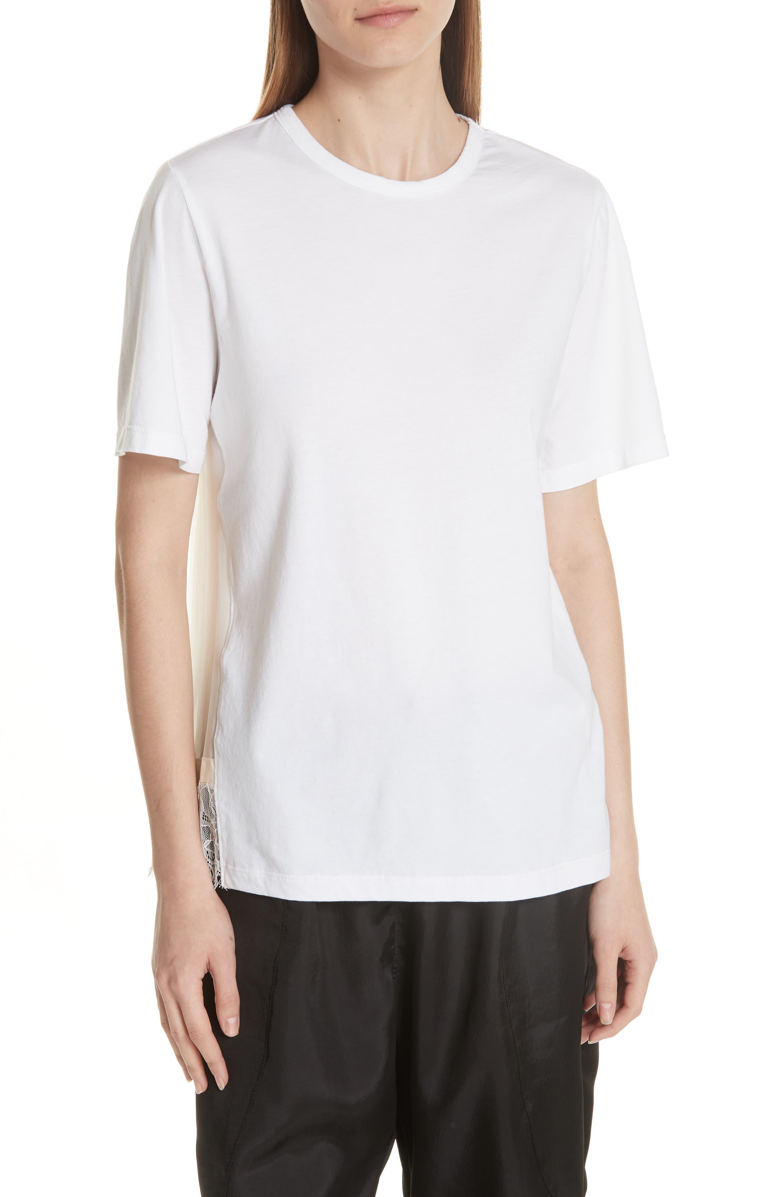 Lace Trim Pleat Back Top,                         Main,                         color, White