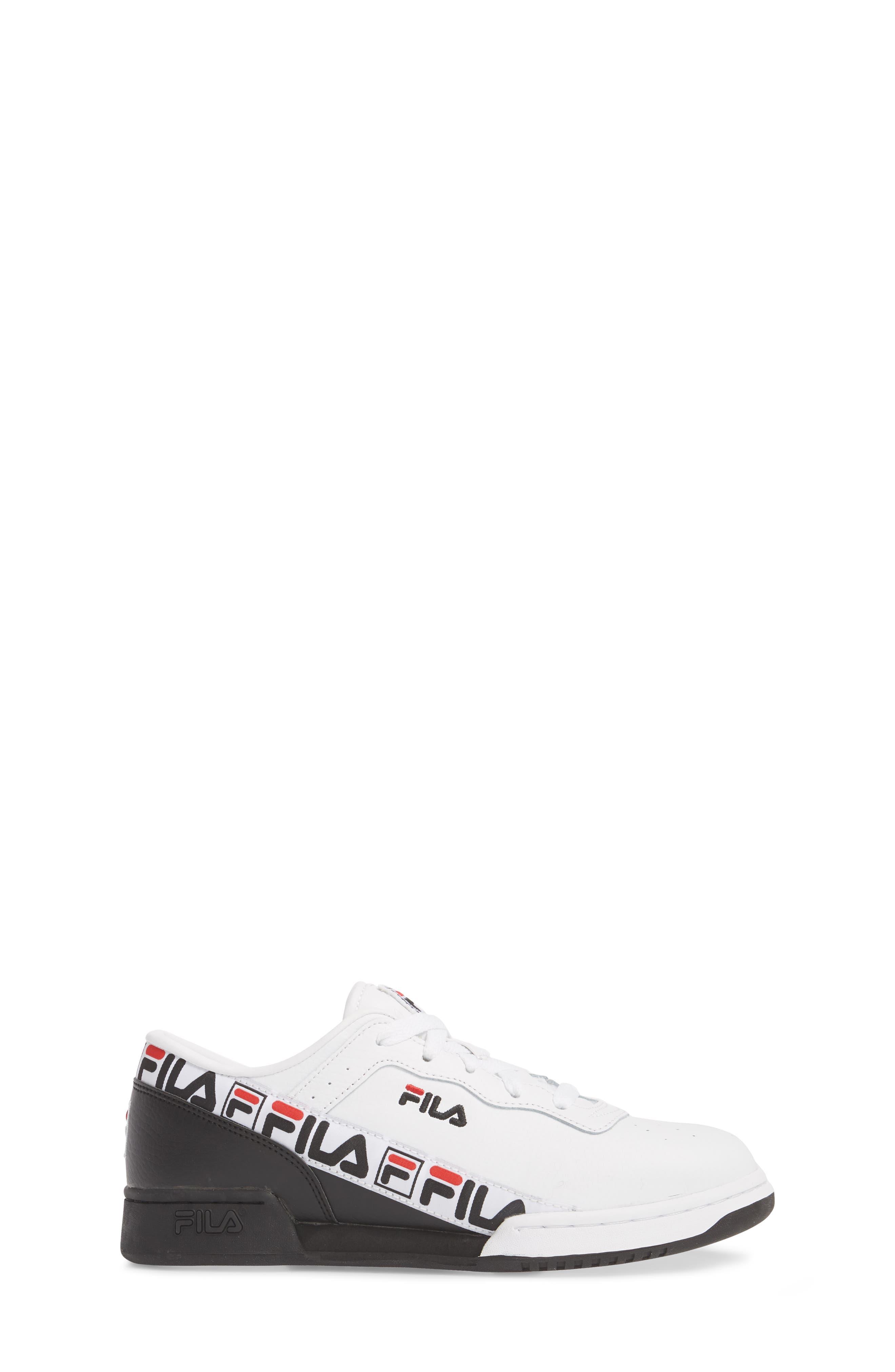 Original Fitness Logo Tape Sneaker,                             Alternate thumbnail 3, color,                             White/ Black/ Fila Red