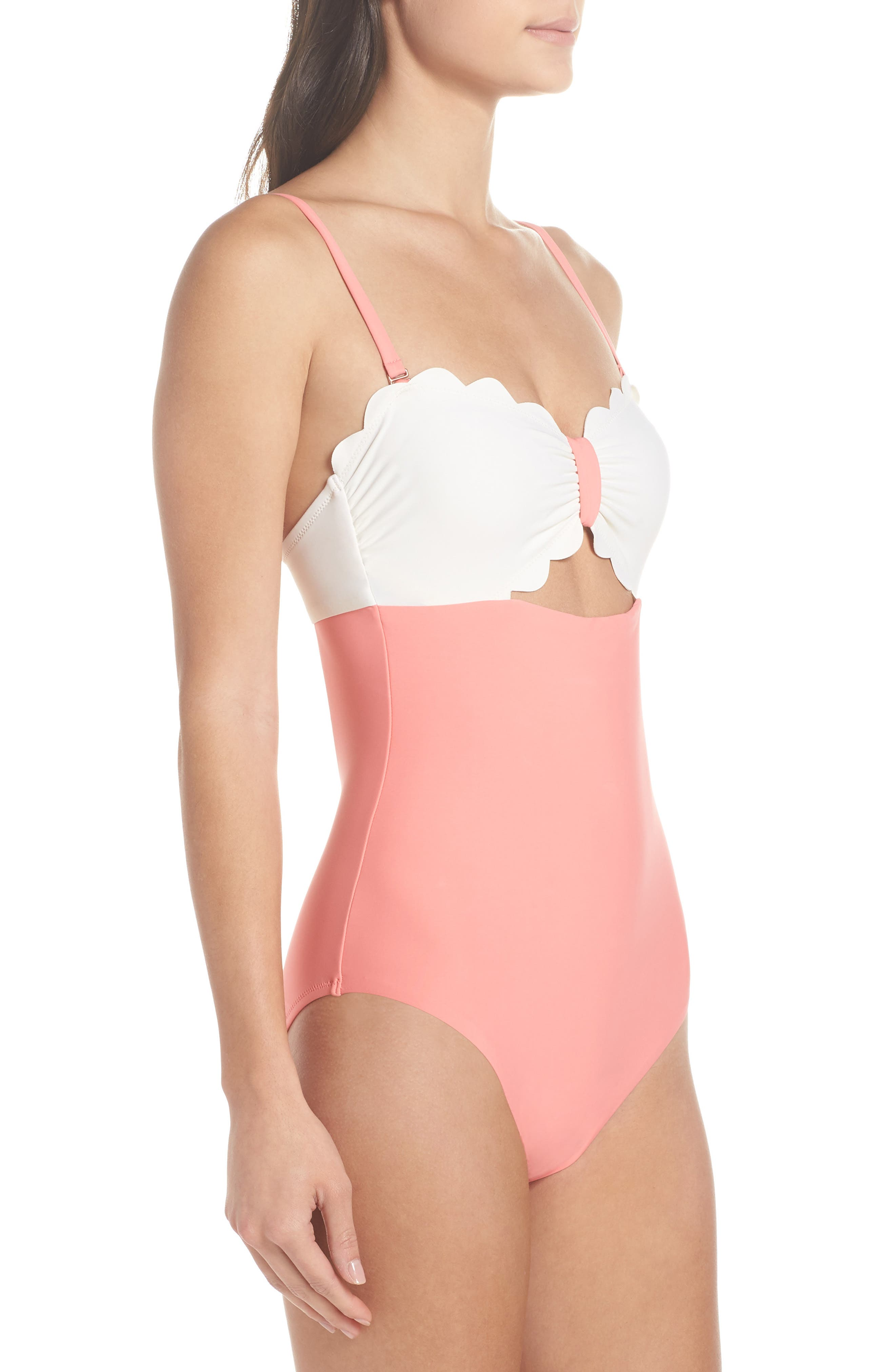 Scallop Bandeau One-Piece Swimsuit,                             Alternate thumbnail 5, color,                             Coral Shell / Ivory Egret