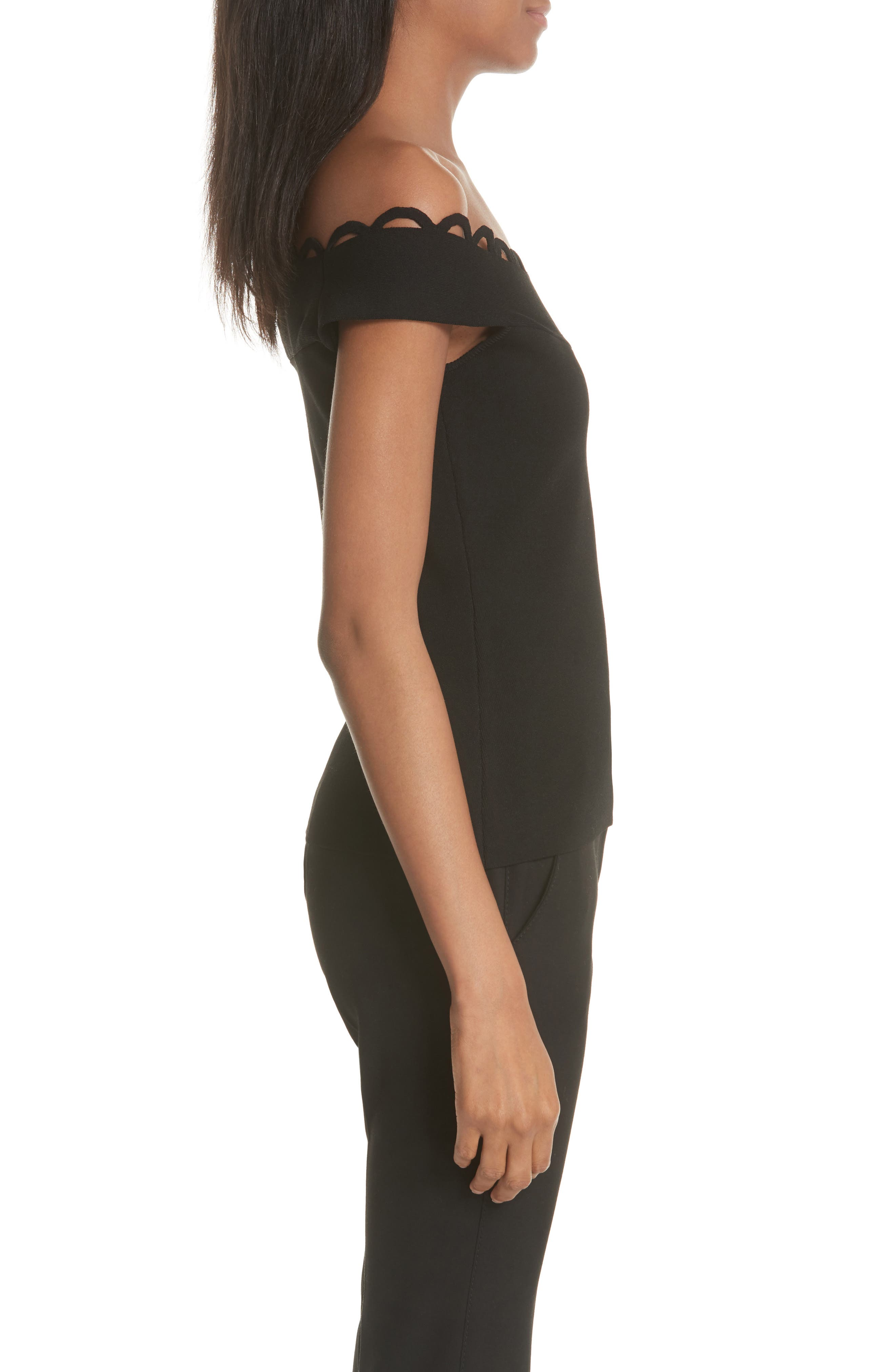 Scallop Neck Knit Top,                             Alternate thumbnail 3, color,                             Black
