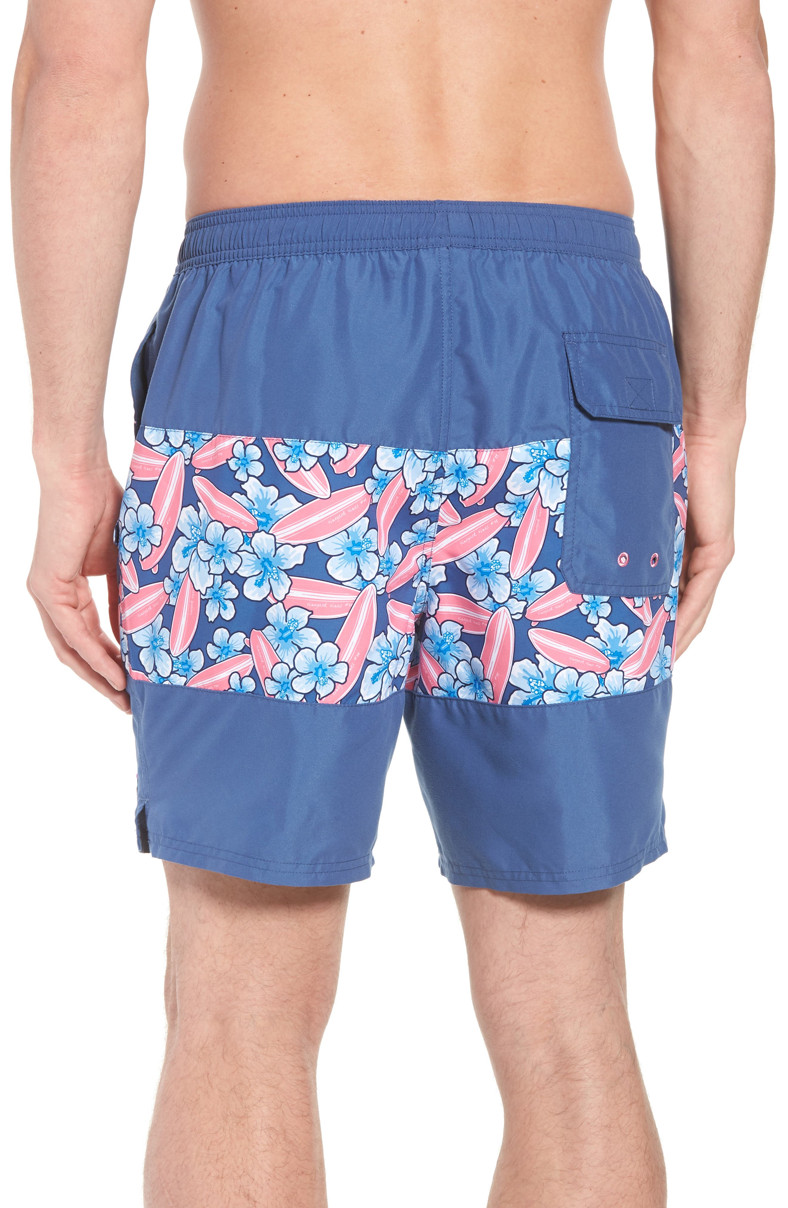 Chappy Pieced Surfboard Swim Trunks,                             Alternate thumbnail 2, color,                             Moonshine