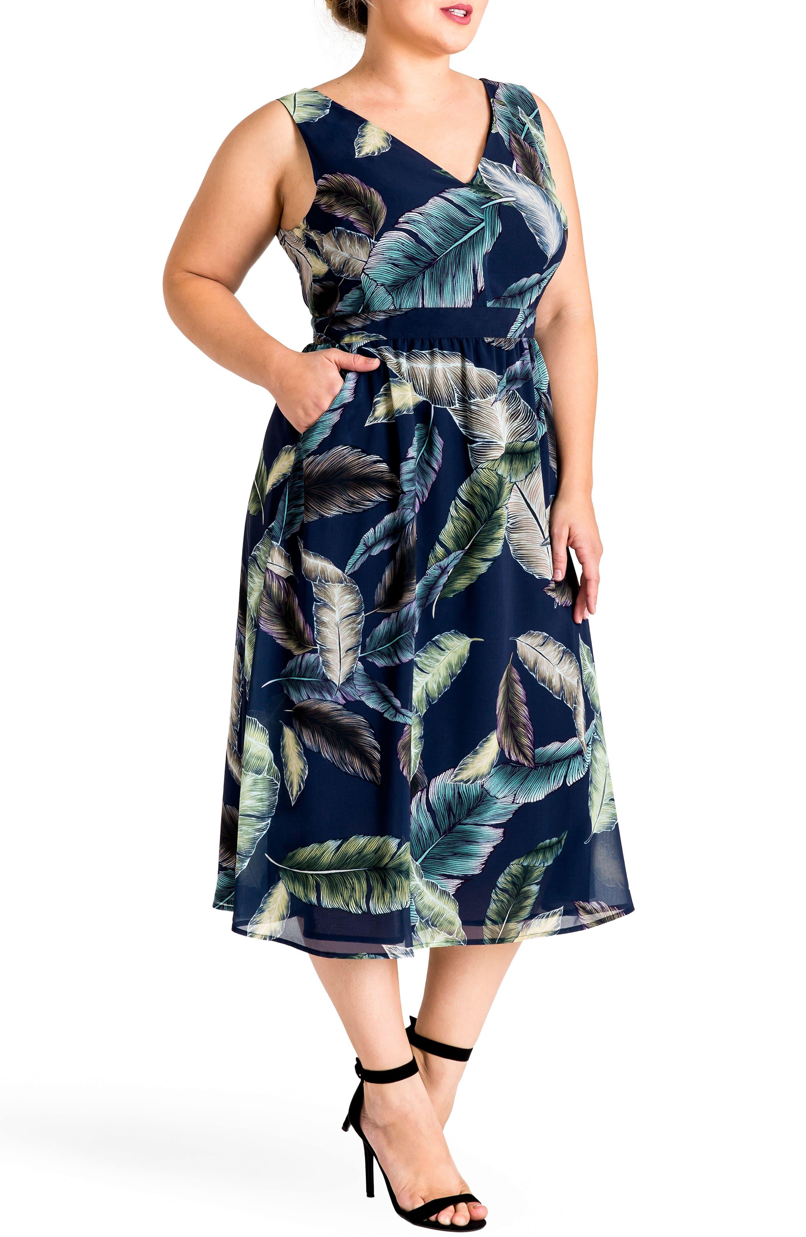 Naya Deep V-Neck Midi Dress,                         Main,                         color, Leaf Print
