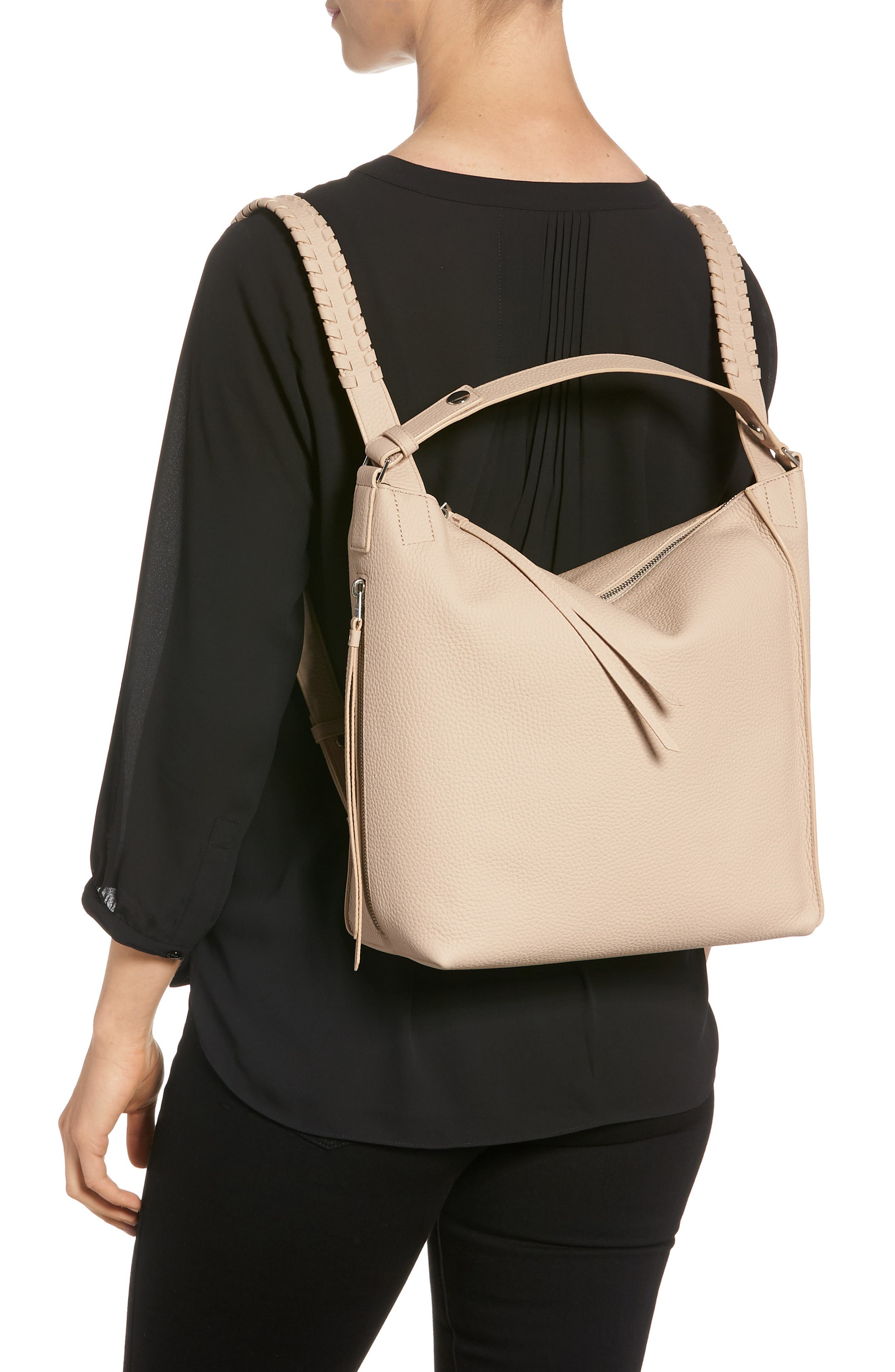 Small Kita Convertible Leather Backpack,                             Alternate thumbnail 2, color,                             Natural