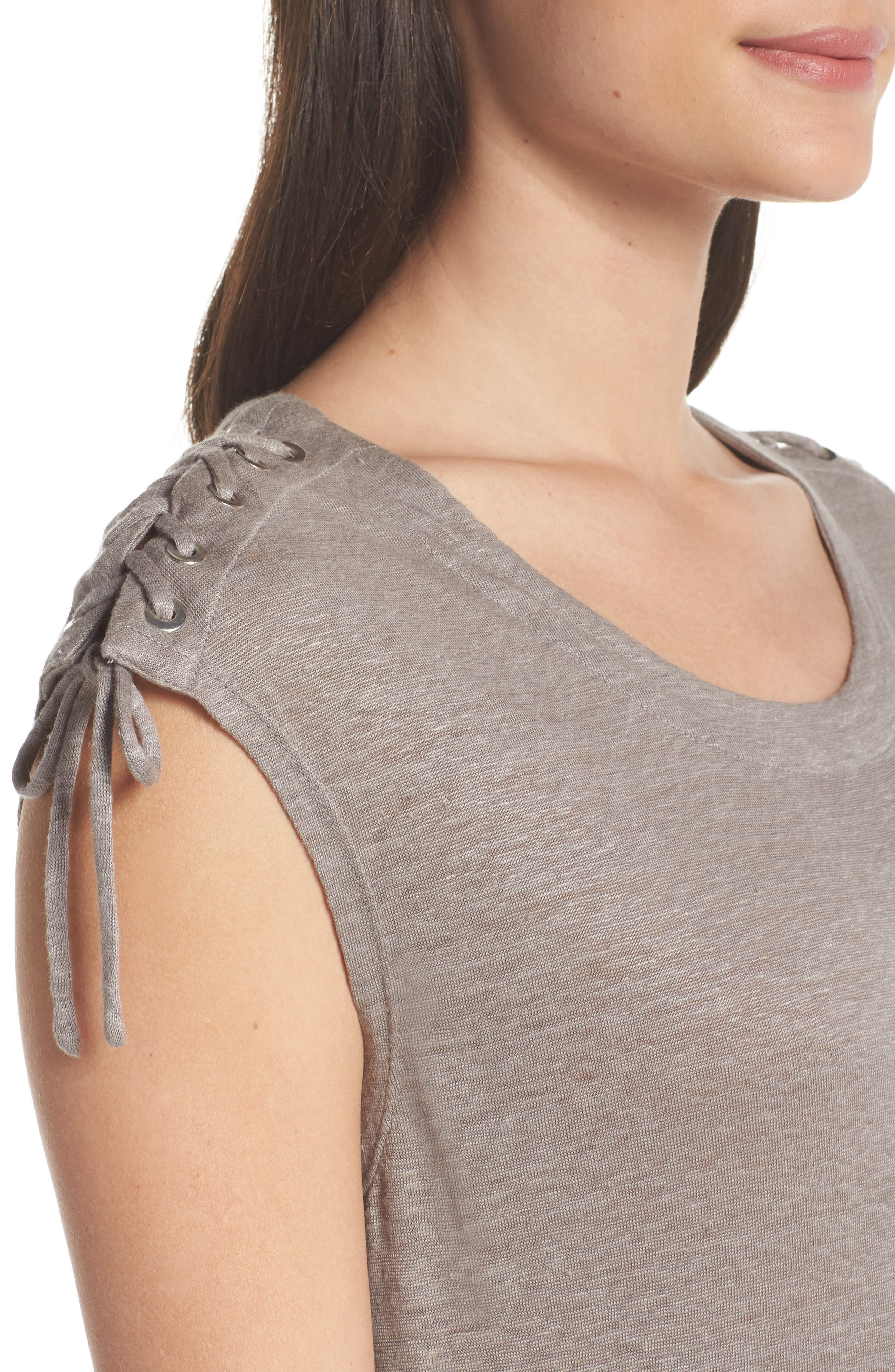 Lace-up Shoulder Jersey Midi Dress,                             Alternate thumbnail 4, color,                             Grey