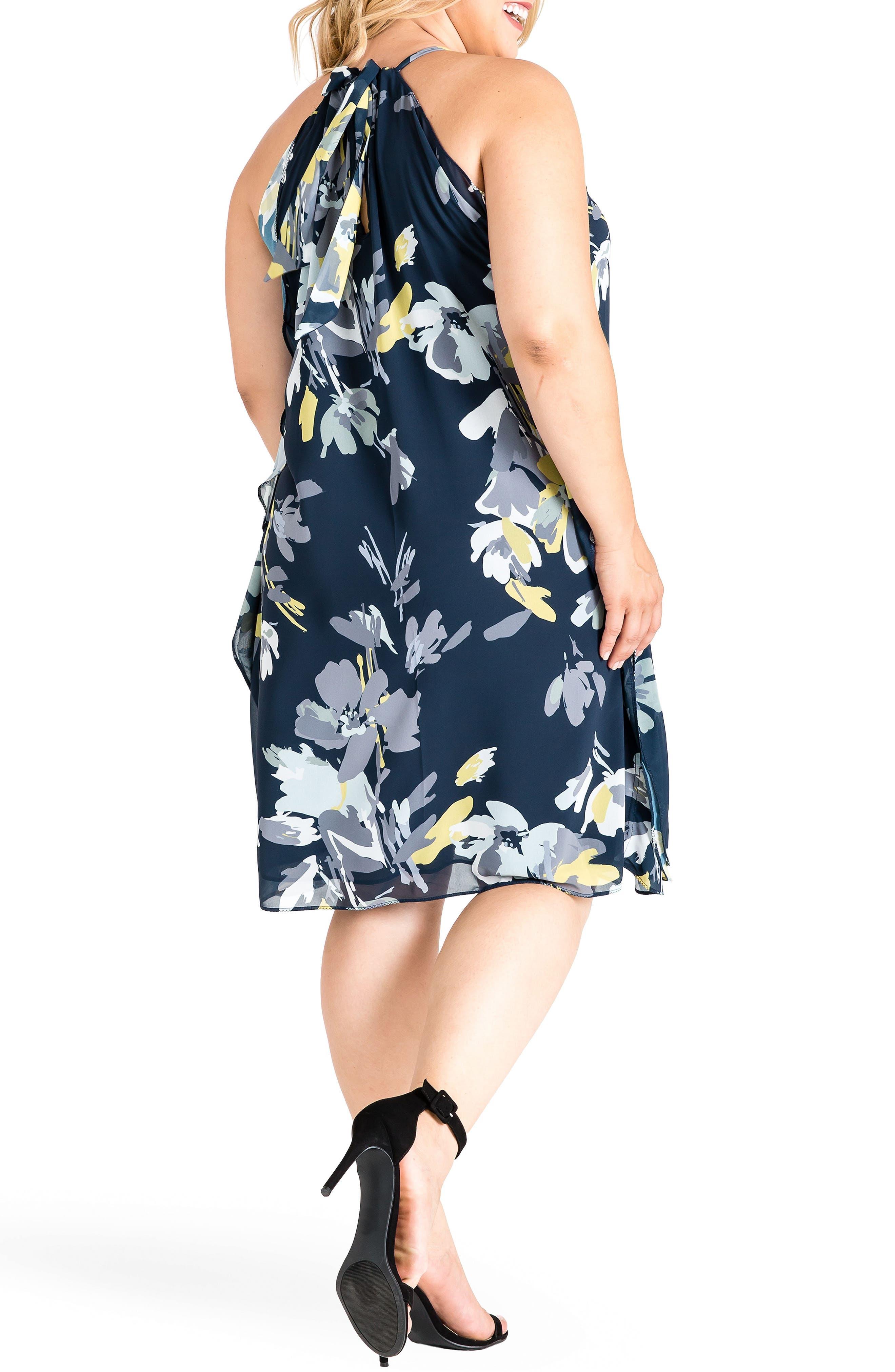 Channing Dress,                             Alternate thumbnail 2, color,                             Navy Petals