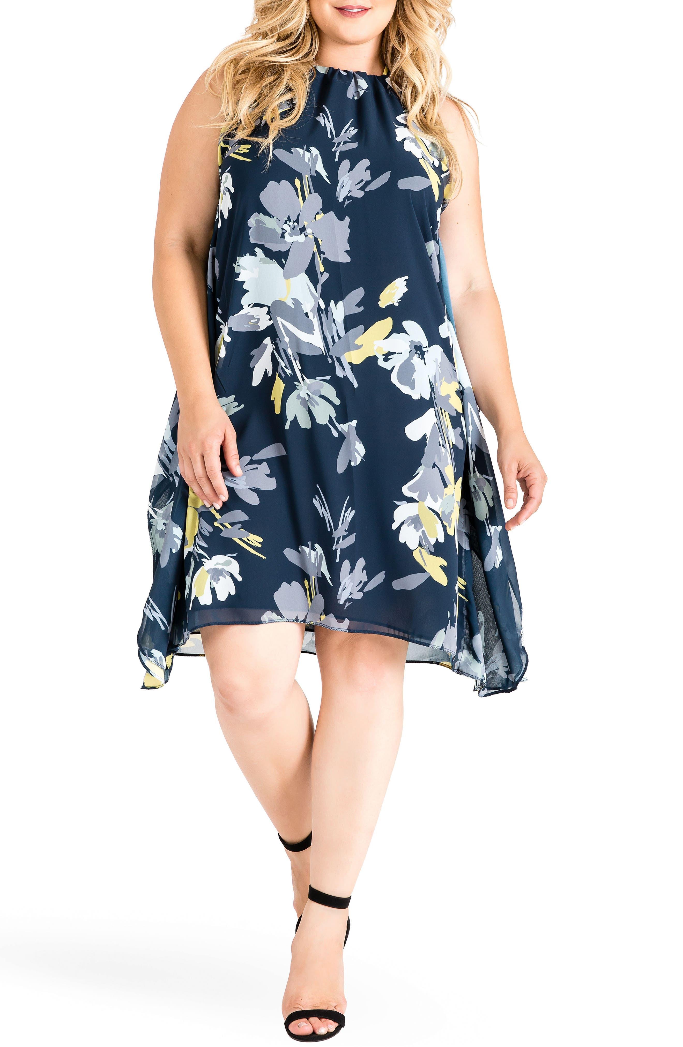 Channing Dress,                         Main,                         color, Navy Petals