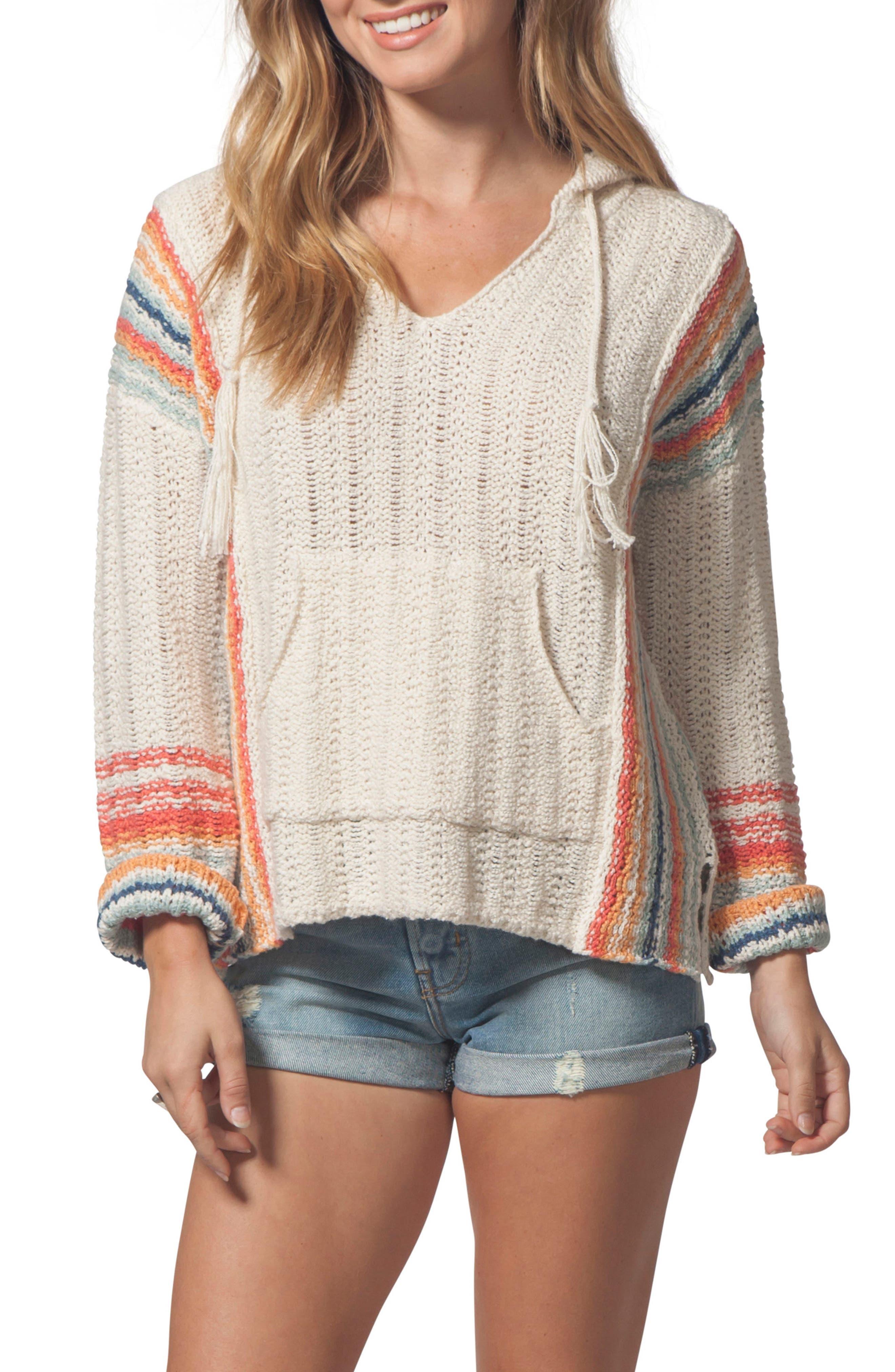 Sedona Hooded Knit Pullover,                             Main thumbnail 1, color,                             Multico