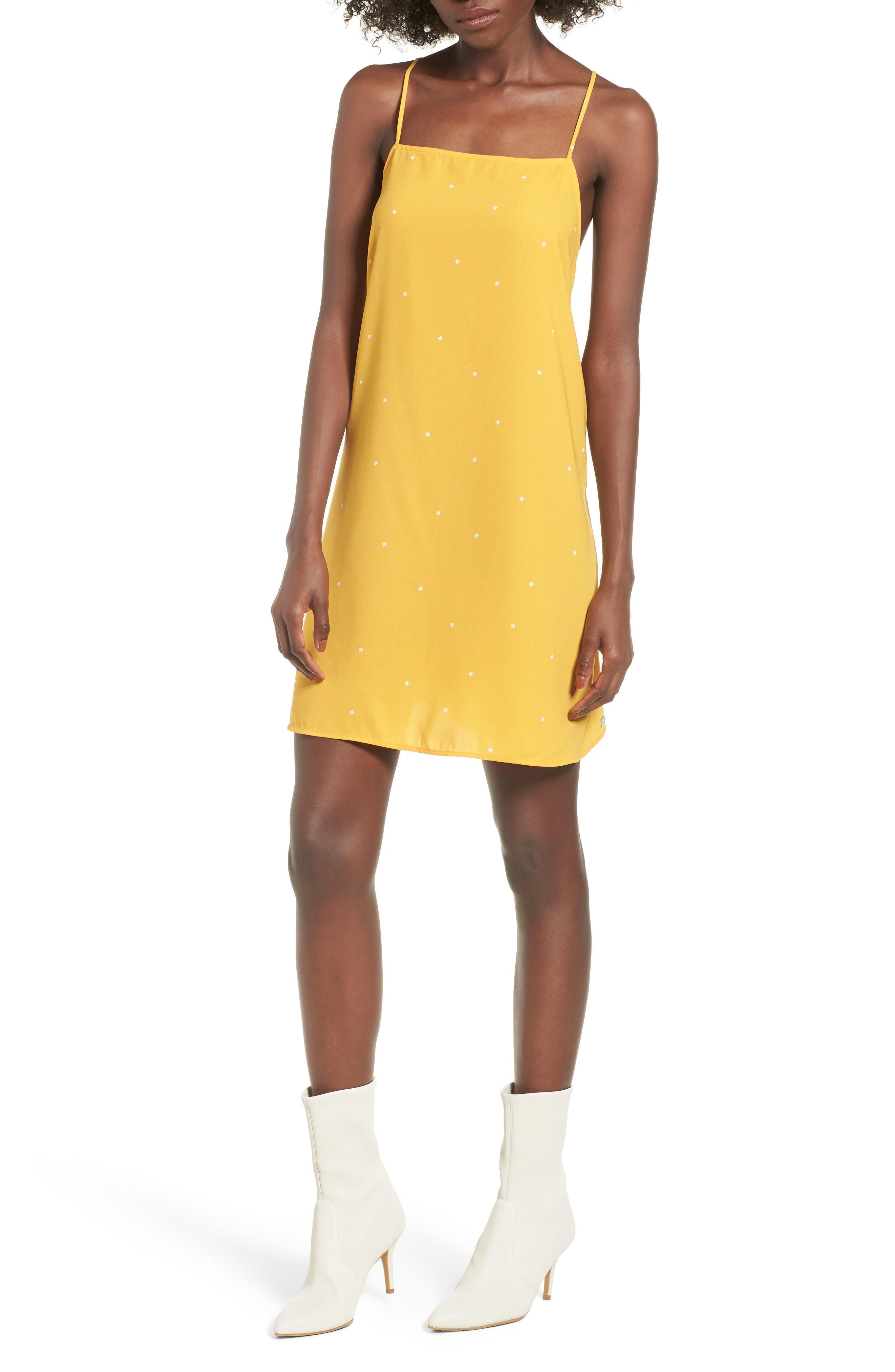 Mental 4 Metal Star Print Dress,                             Main thumbnail 1, color,                             Citrus Gold