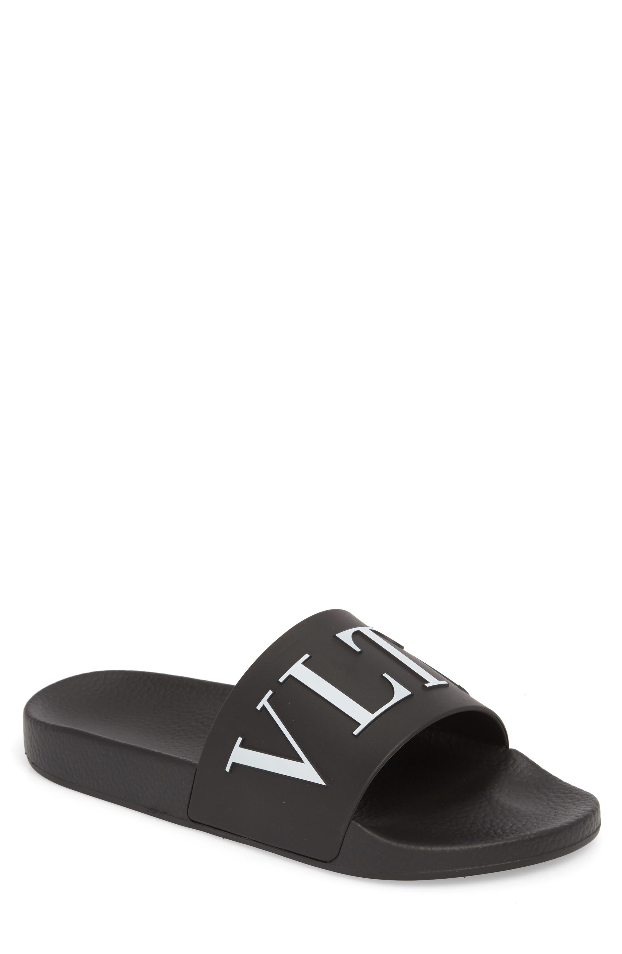 Slide Sandal,                         Main,                         color, Black/ White