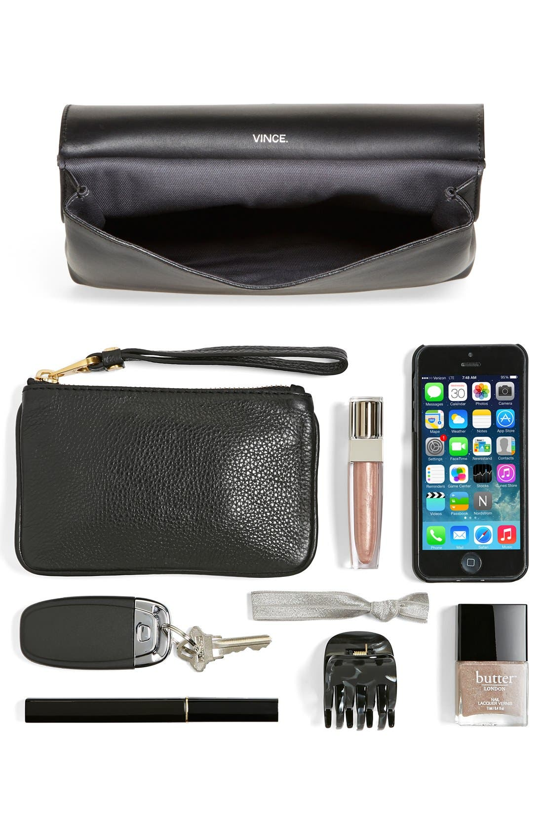 'Signature Collection - Small' Leather Crossbody Bag,                             Alternate thumbnail 5, color,                             Black