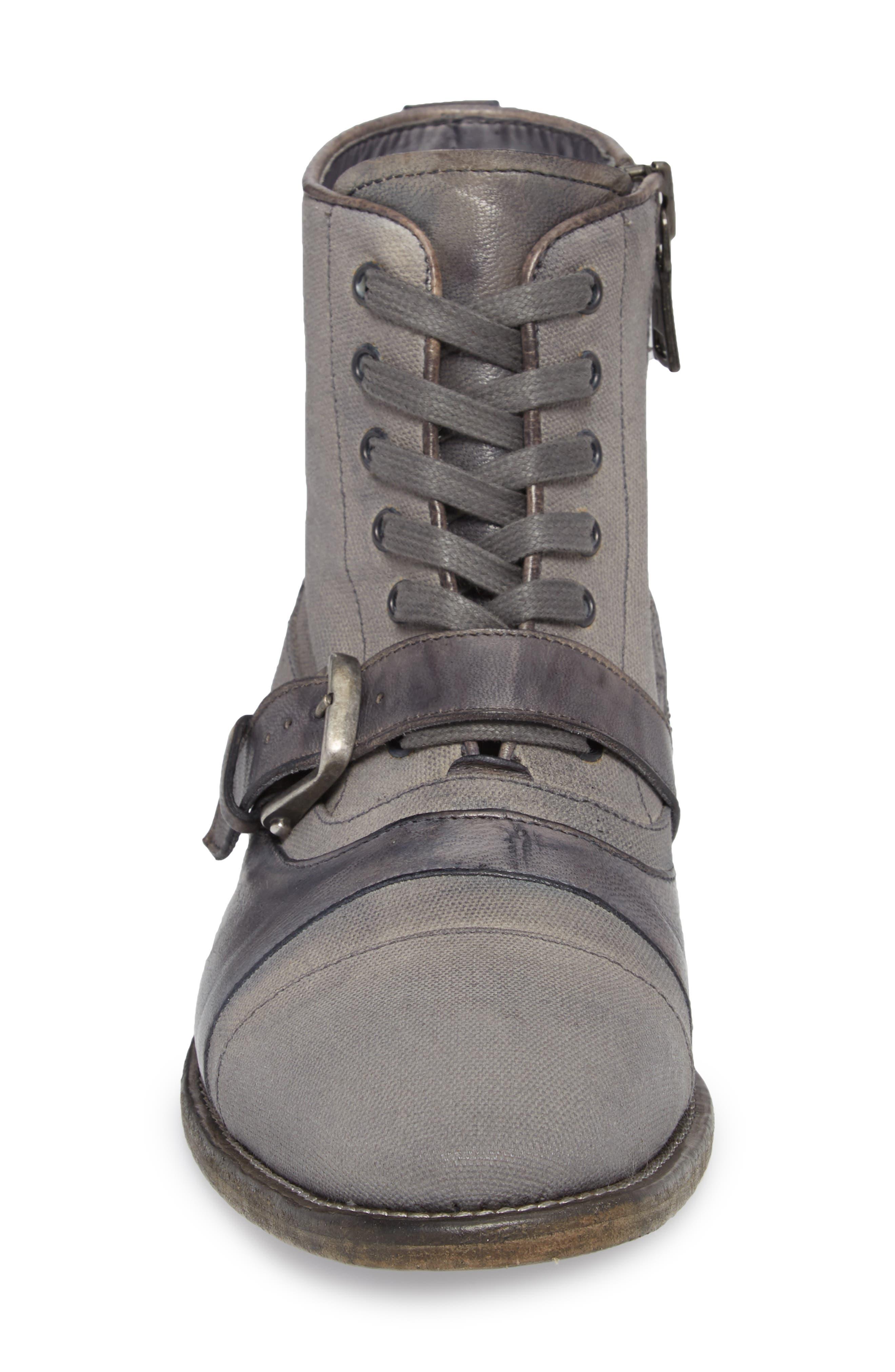 John Varvatos Fleetwood Buckle Cricket Boot,                             Alternate thumbnail 4, color,                             Lead Canvas/ Leather