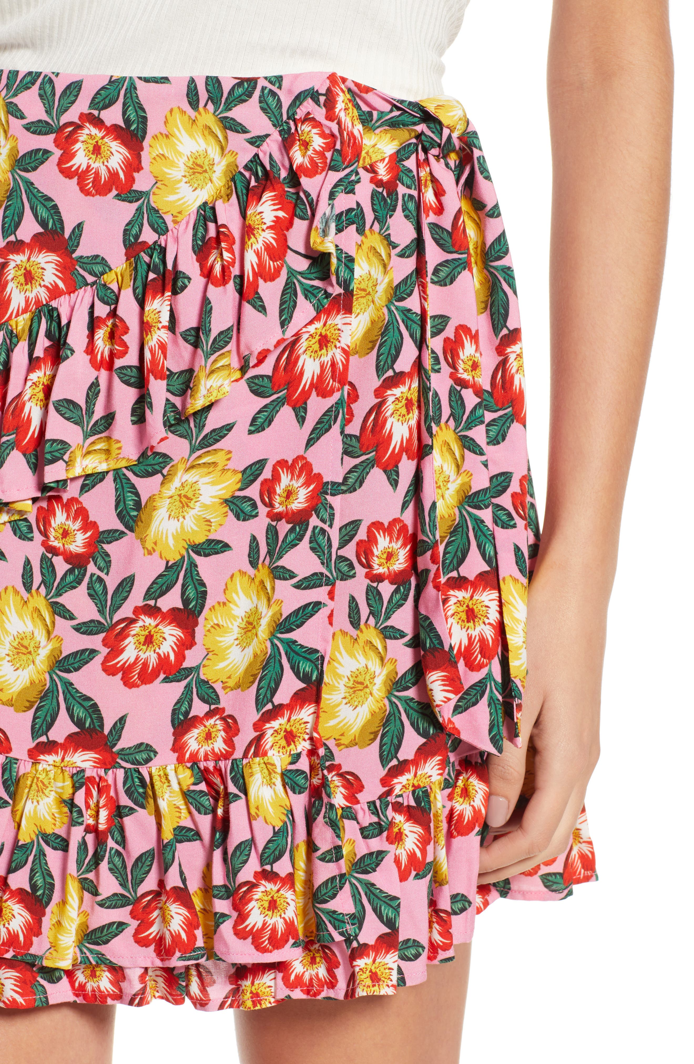 Reunion Floral Print Wrap Skirt,                             Alternate thumbnail 5, color,                             Small Blossom Roselle