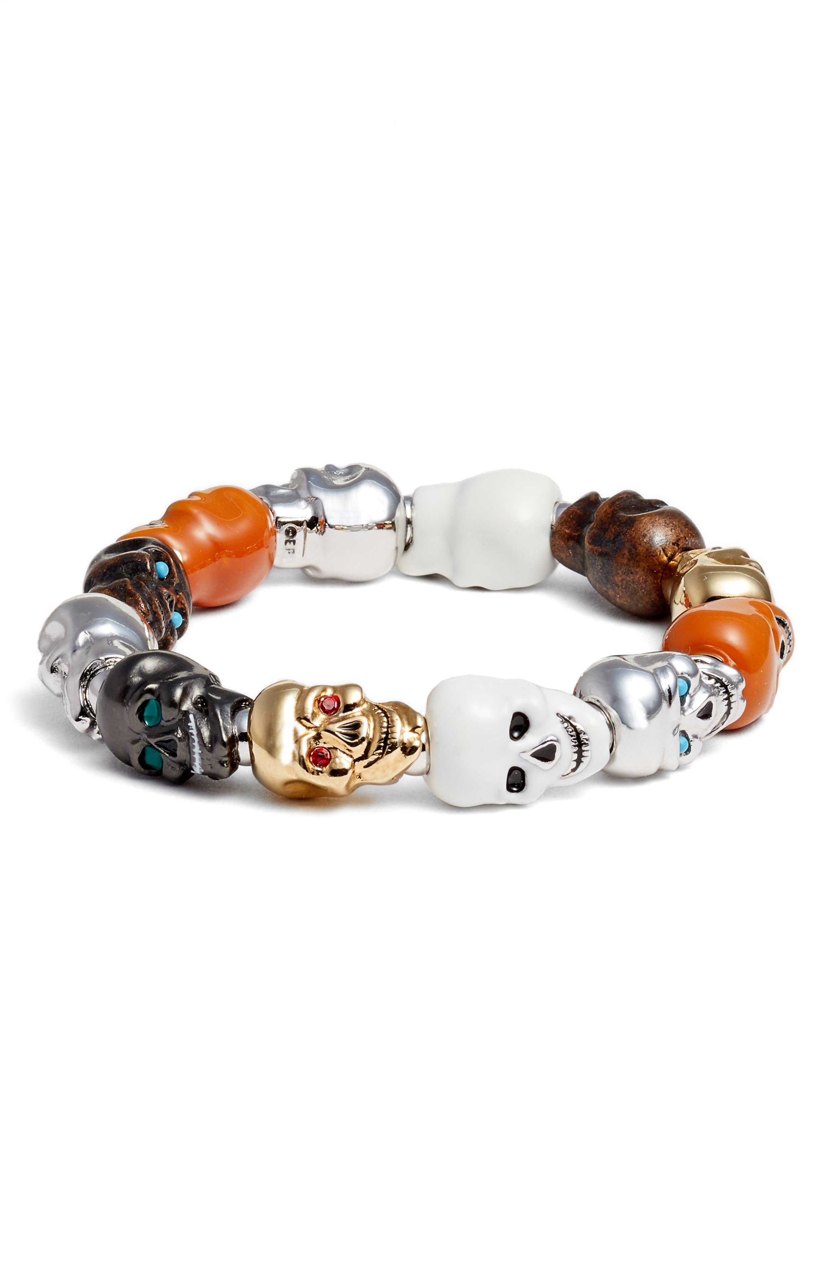 Skulls Medium Stretch Bracelet,                             Main thumbnail 1, color,                             Multi