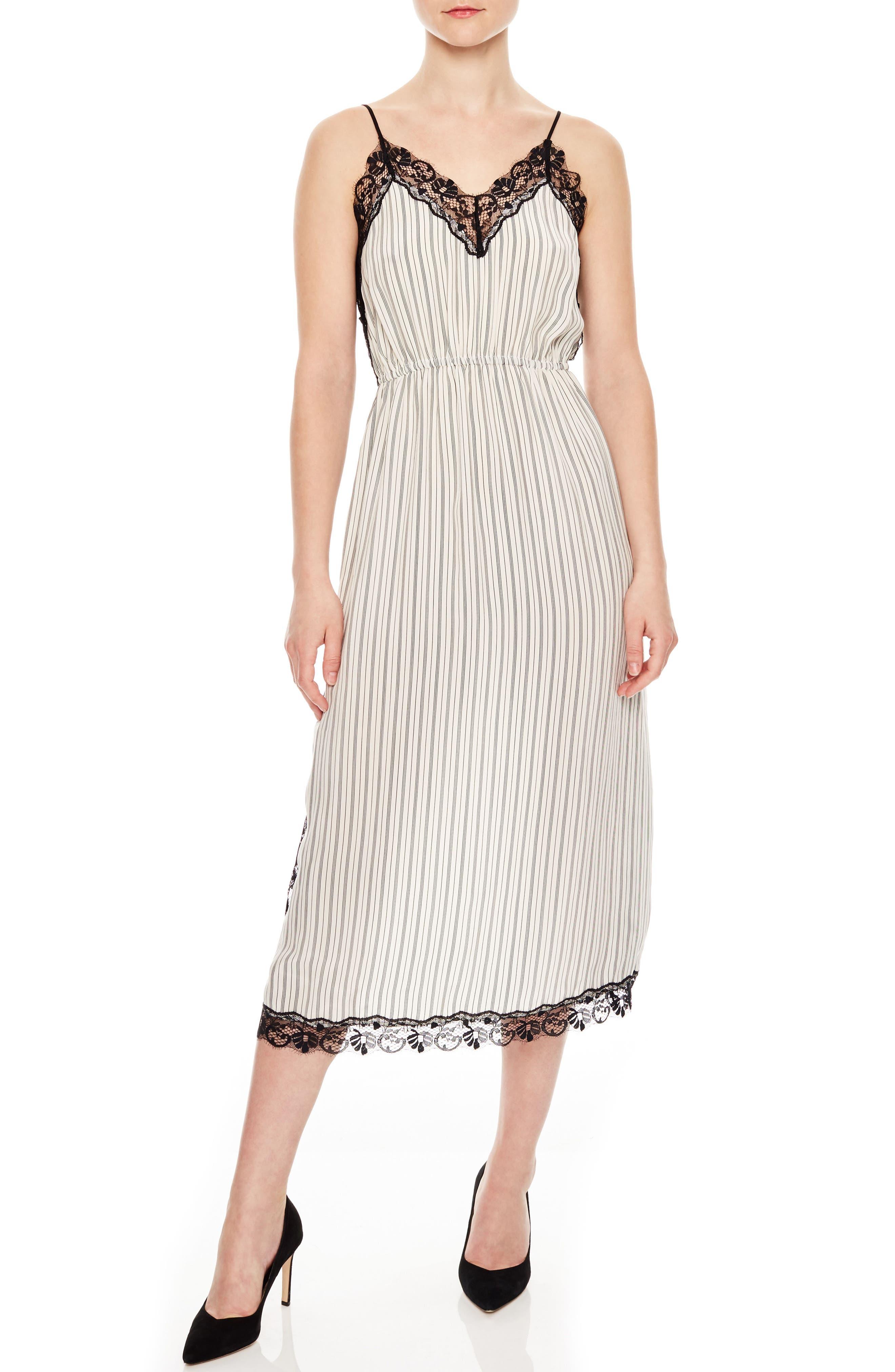 Stripe Lace Dress,                             Main thumbnail 1, color,                             Ecru