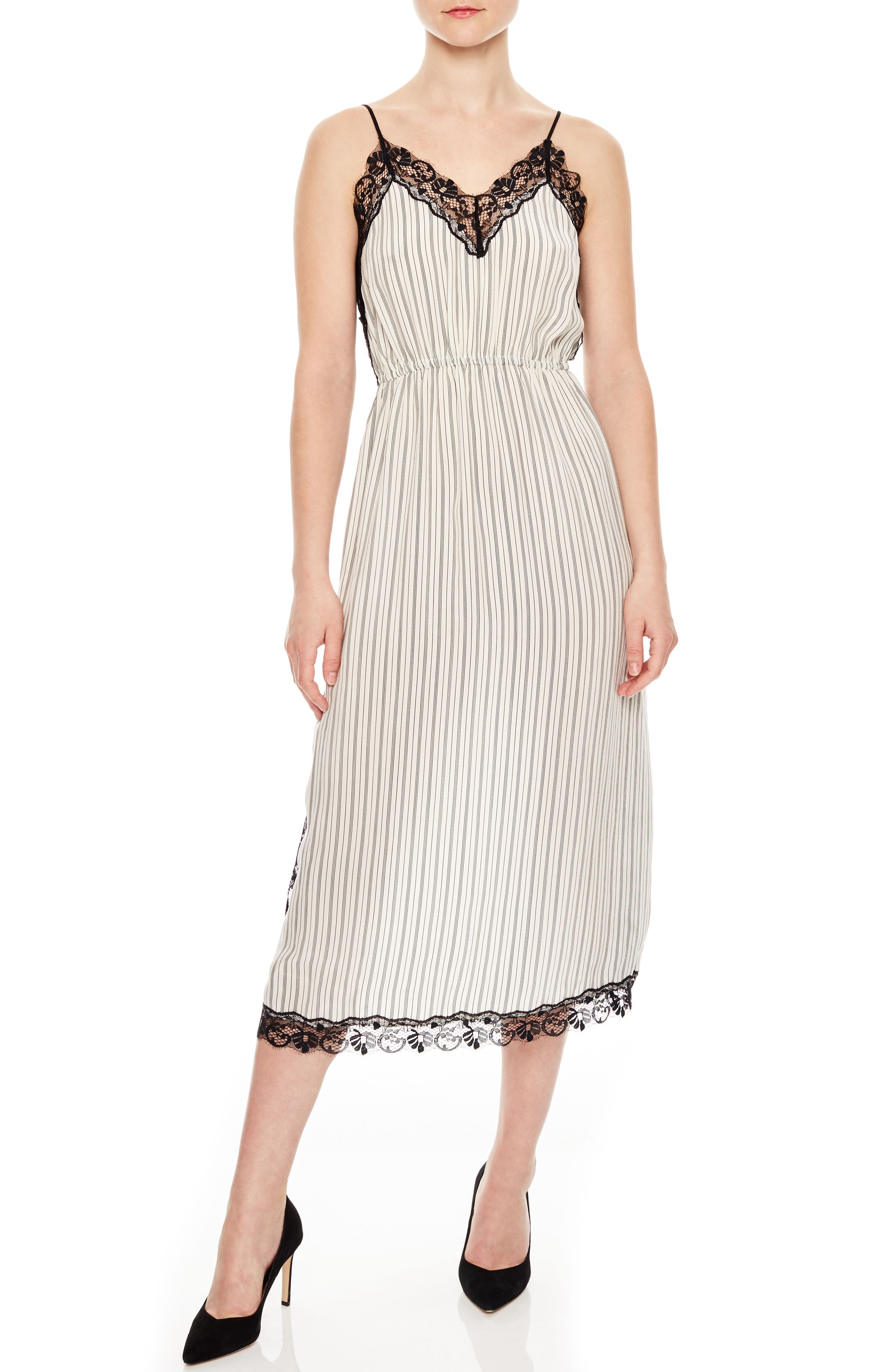 Stripe Lace Dress,                         Main,                         color, Ecru