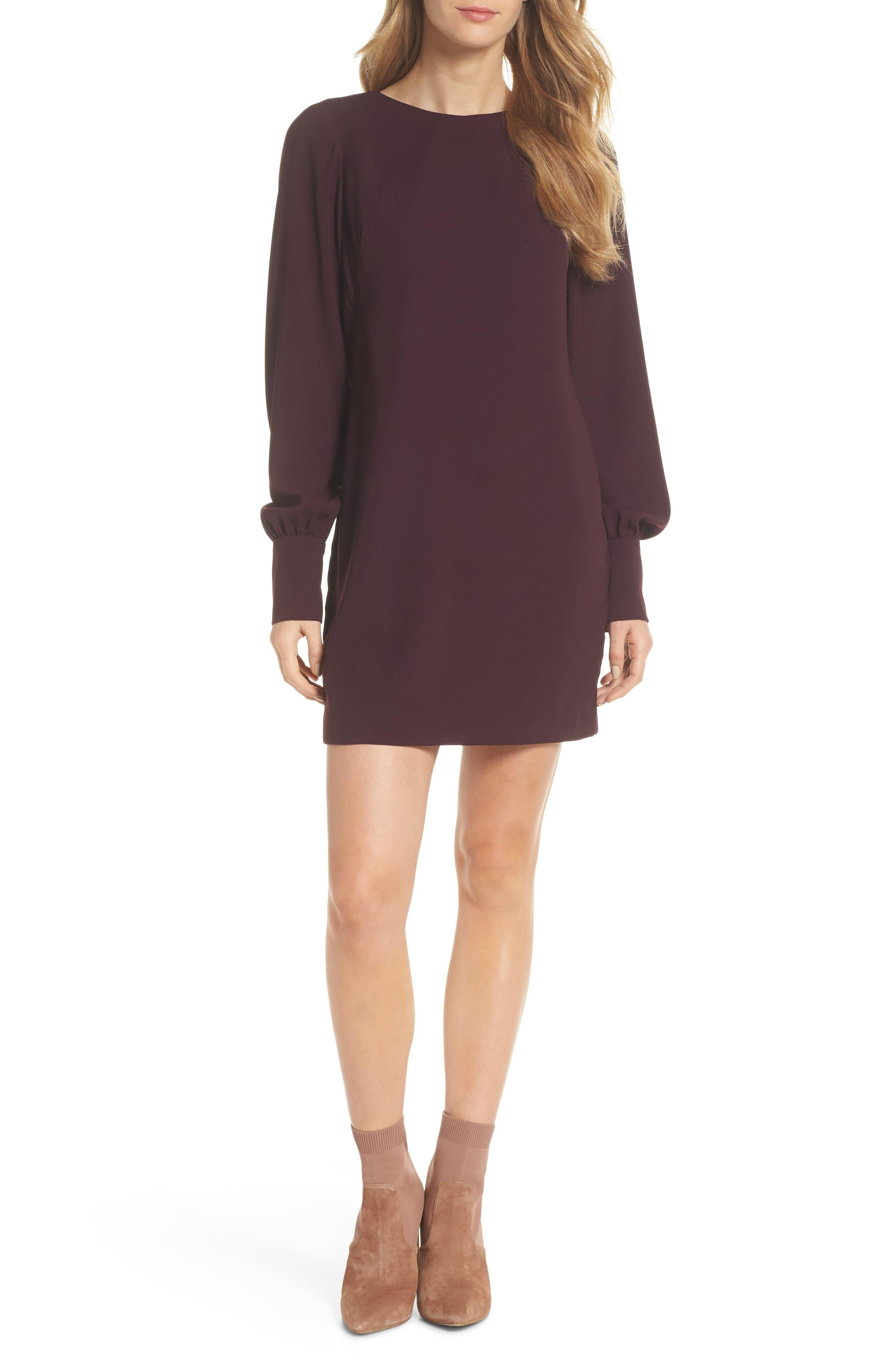 V-Back Shift Dress,                             Main thumbnail 1, color,                             Burgundy Stem