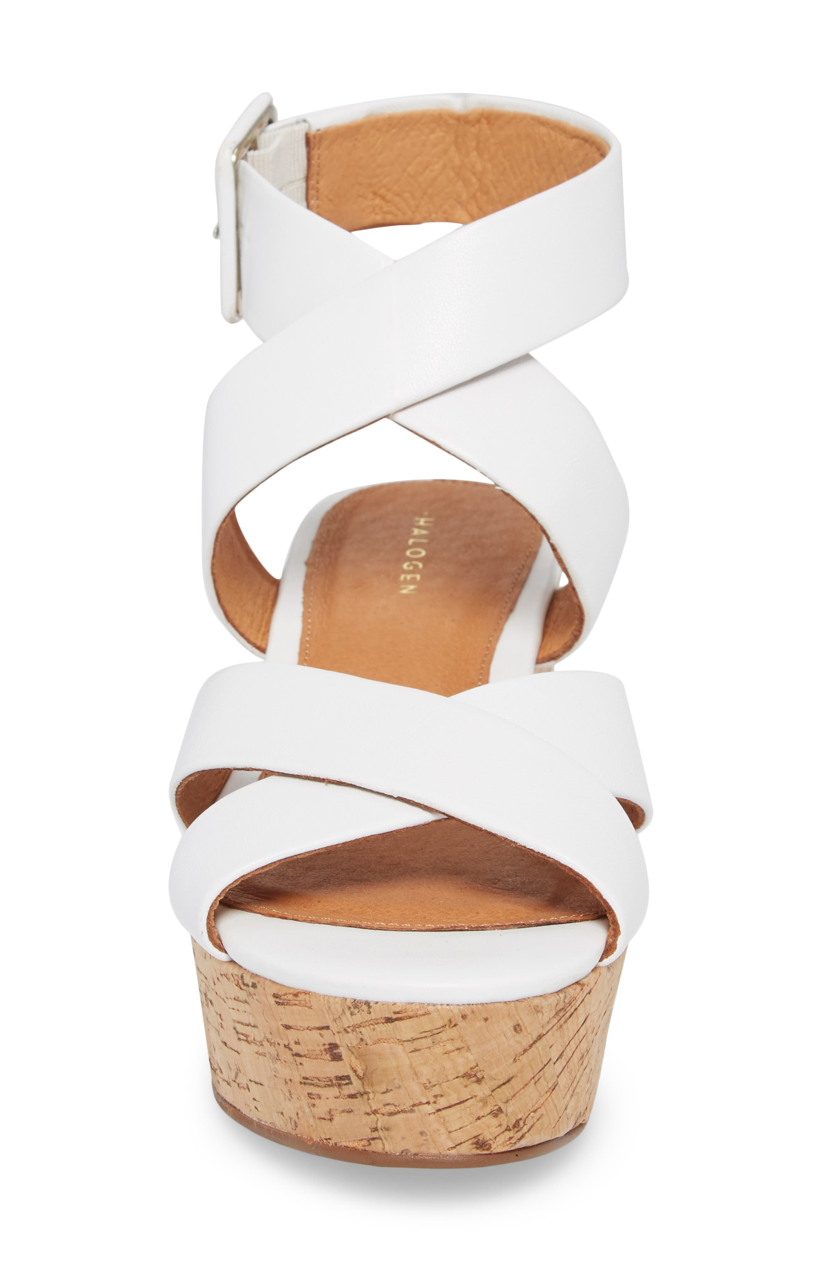 Evie Platform Wedge Sandal,                             Alternate thumbnail 4, color,                             White Leather