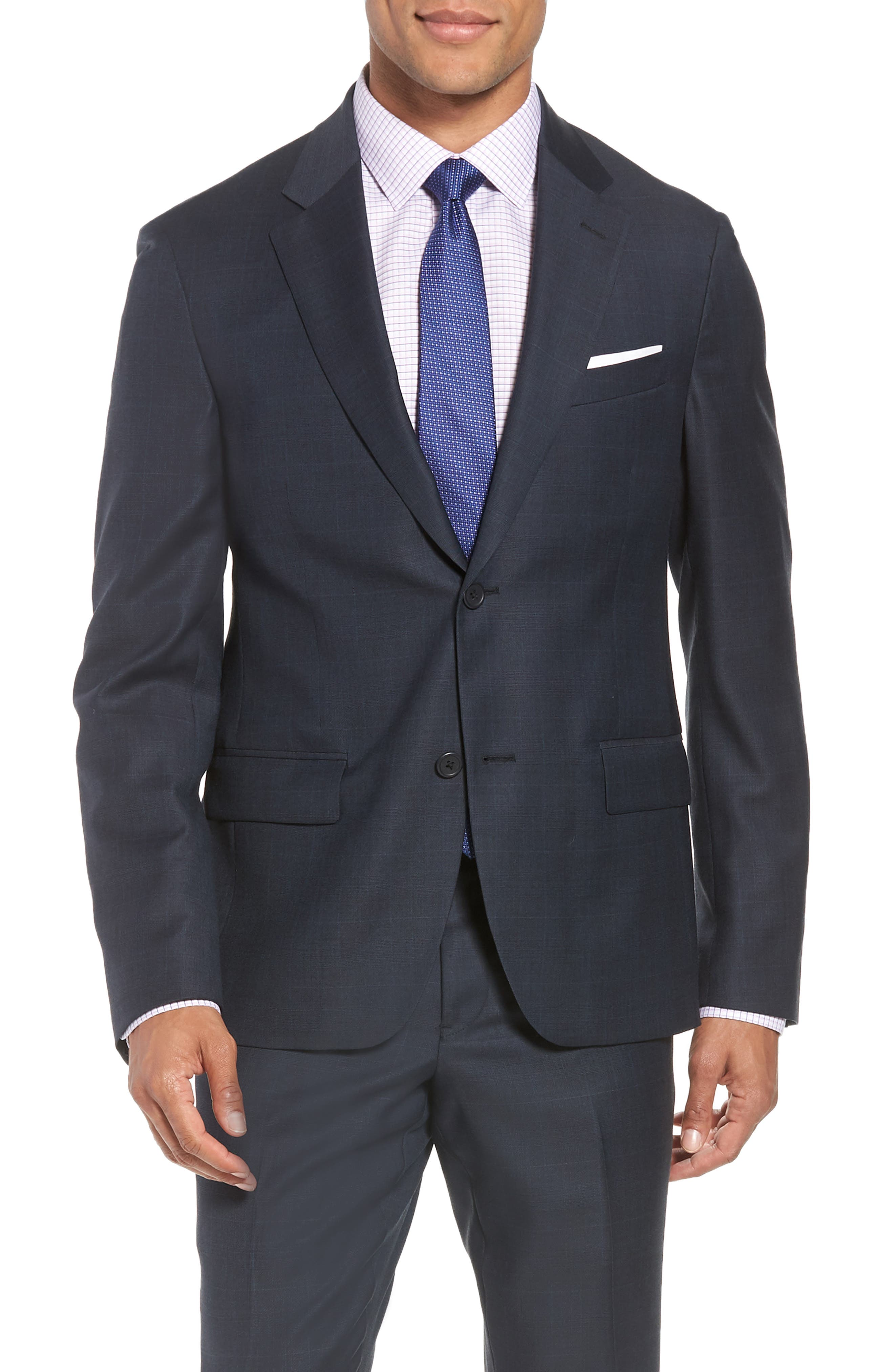 Trim Fit Plaid Wool Suit,                             Alternate thumbnail 5, color,                             Navy