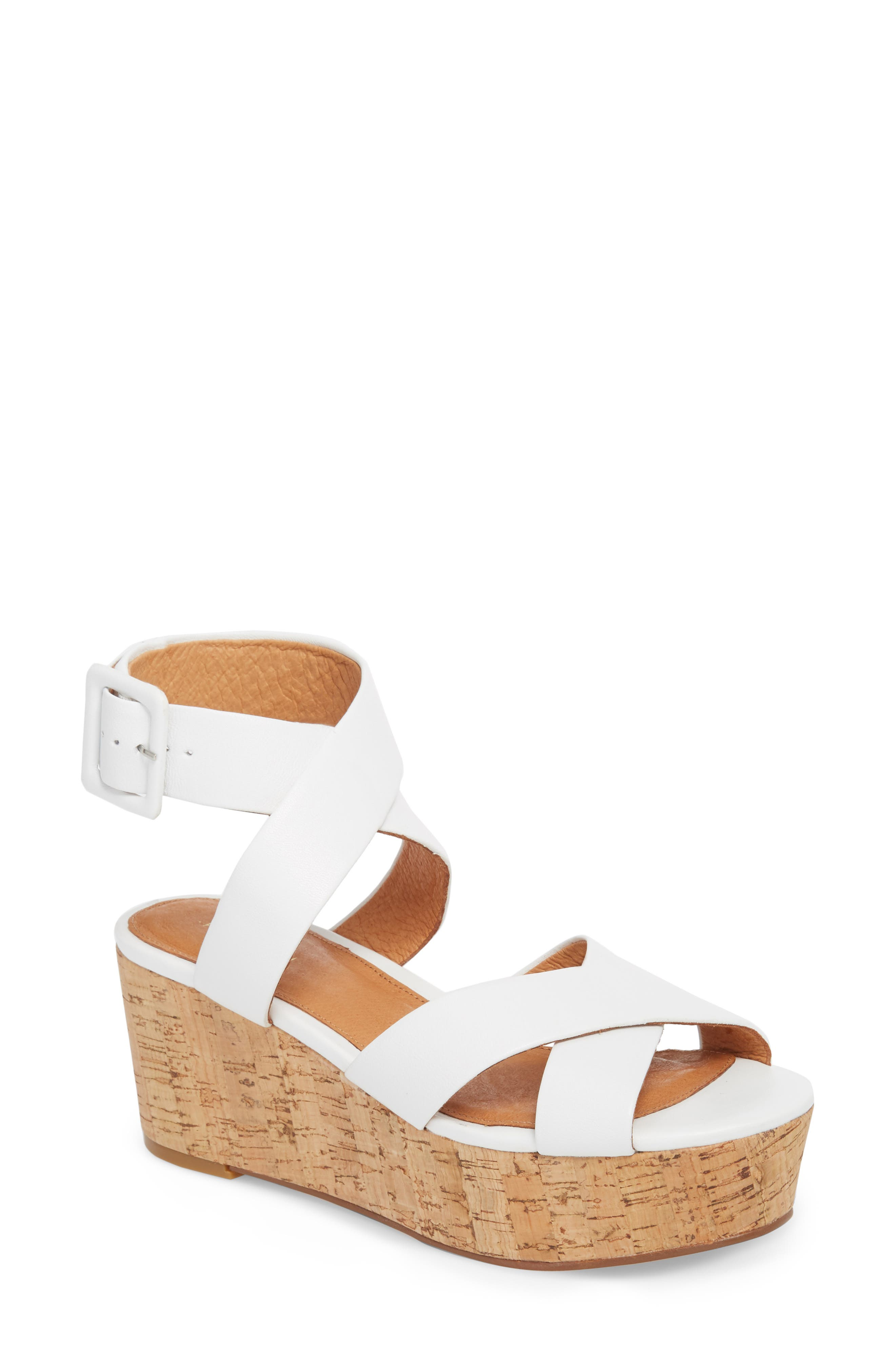 Evie Platform Wedge Sandal,                             Main thumbnail 1, color,                             White Leather